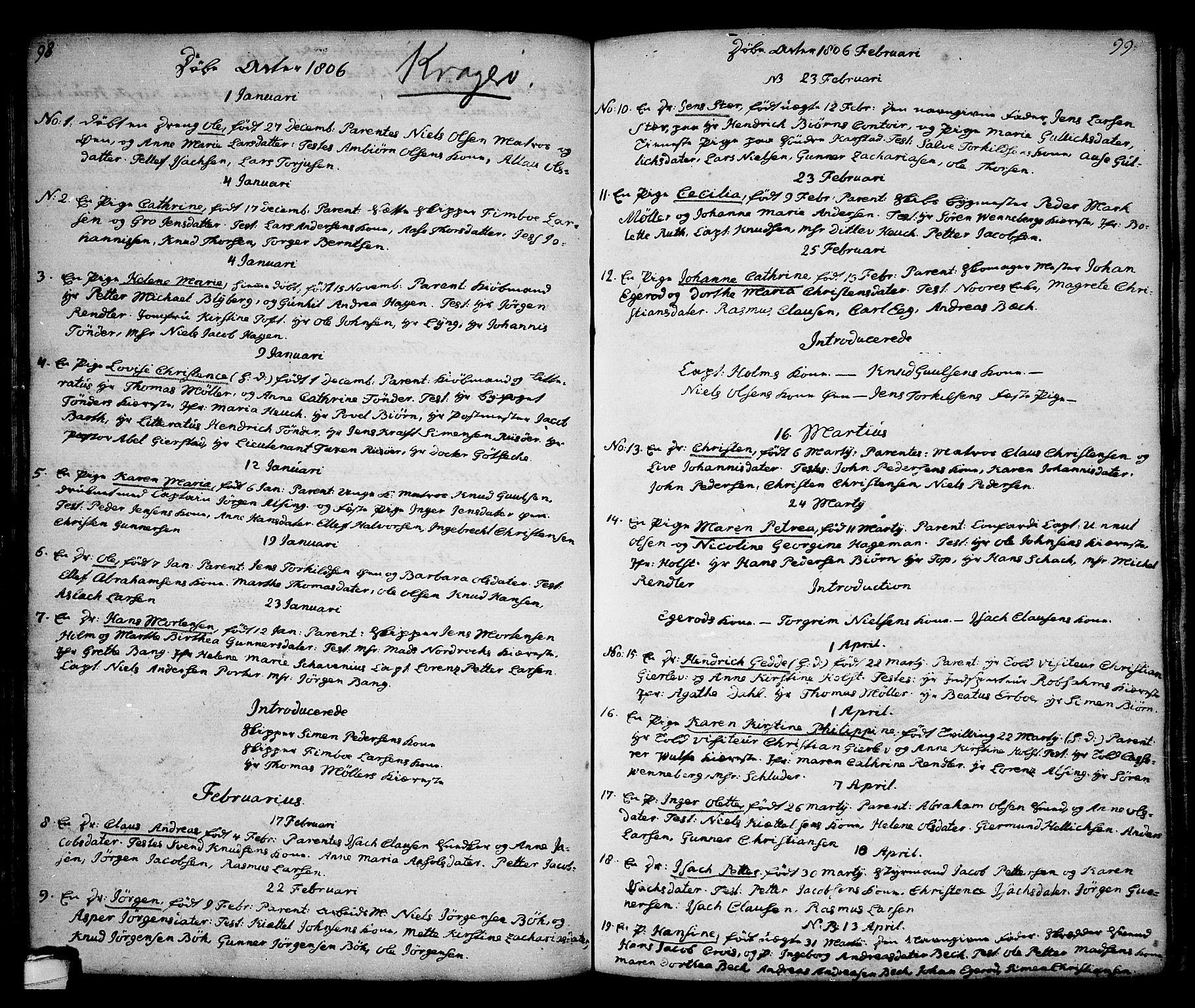 SAKO, Kragerø kirkebøker, G/Ga/L0001: Klokkerbok nr. 1 /1, 1806-1811, s. 98-99