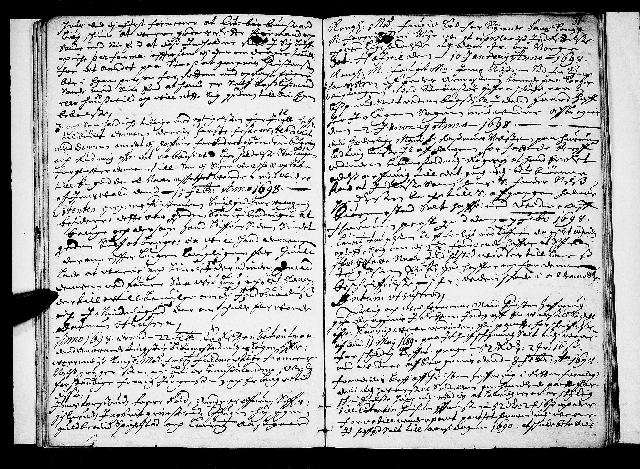 SAKO, Lier, Røyken og Hurum sorenskriveri, F/Fa/L0037: Tingbok, 1697-1699, s. 31
