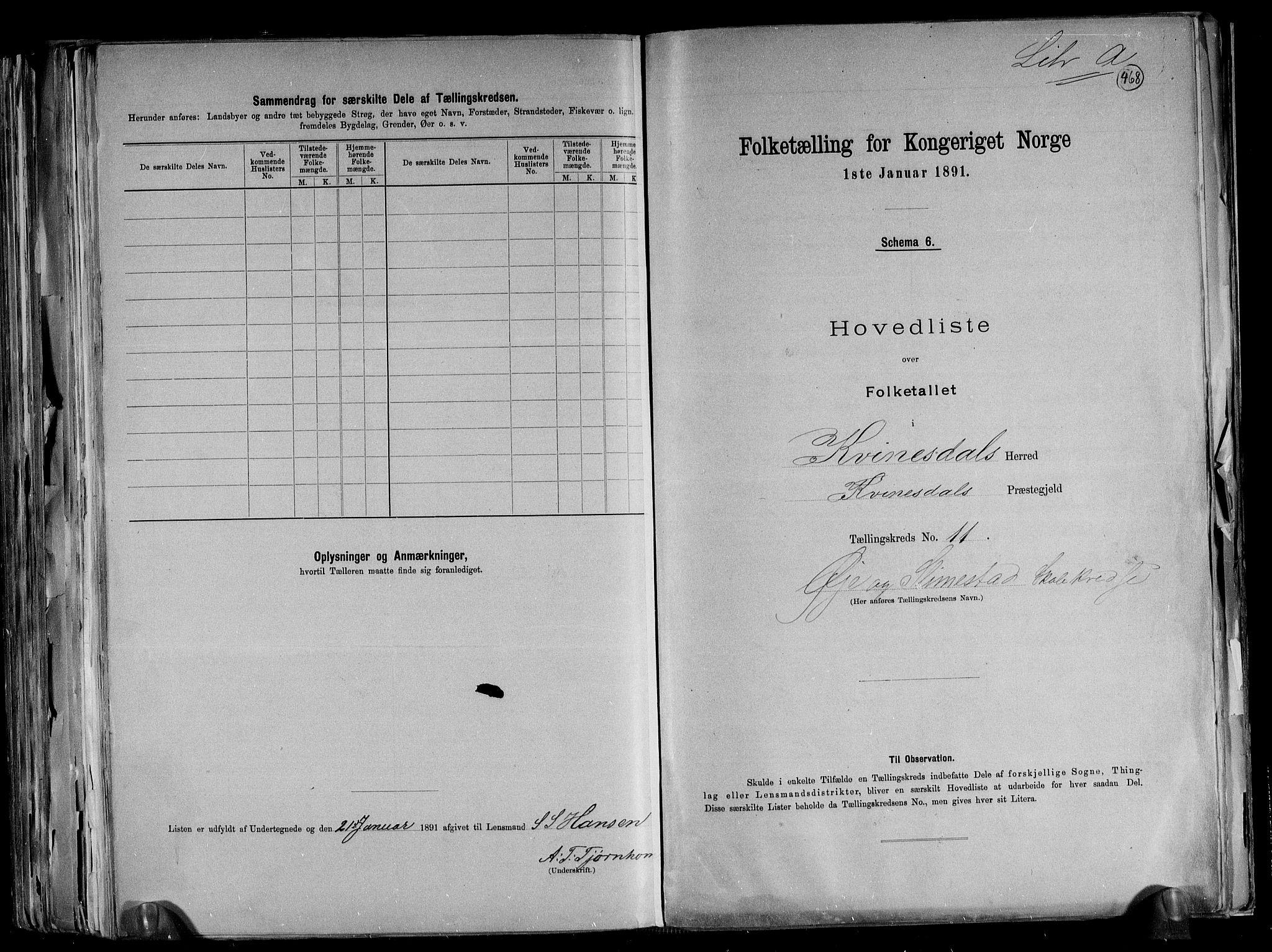 RA, Folketelling 1891 for 1037 Kvinesdal herred, 1891, s. 30