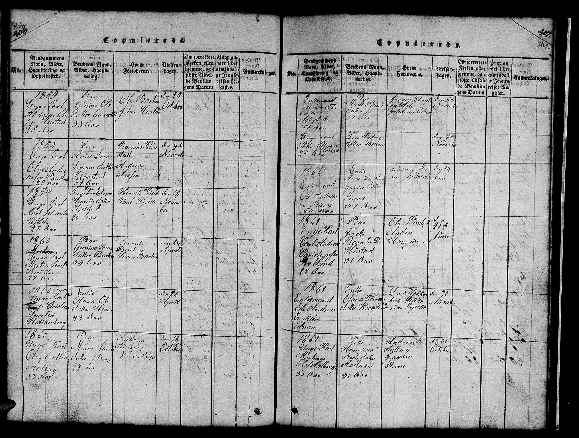 SAT, Ministerialprotokoller, klokkerbøker og fødselsregistre - Nord-Trøndelag, 732/L0317: Klokkerbok nr. 732C01, 1816-1881, s. 406-407