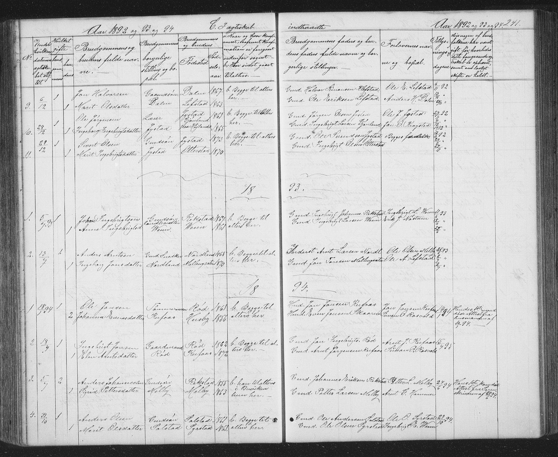 SAT, Ministerialprotokoller, klokkerbøker og fødselsregistre - Sør-Trøndelag, 667/L0798: Klokkerbok nr. 667C03, 1867-1929, s. 241