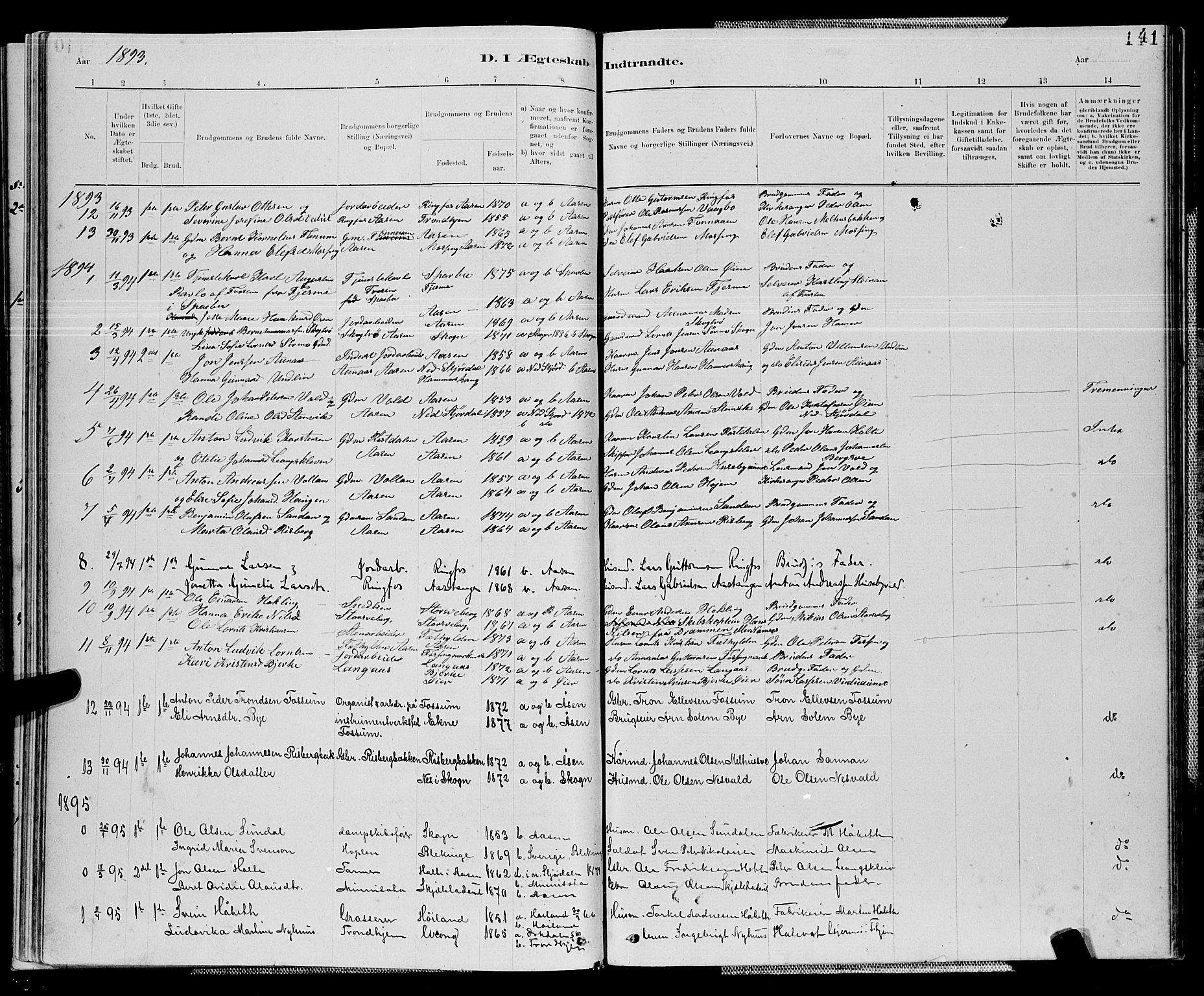 SAT, Ministerialprotokoller, klokkerbøker og fødselsregistre - Nord-Trøndelag, 714/L0134: Klokkerbok nr. 714C03, 1878-1898, s. 141