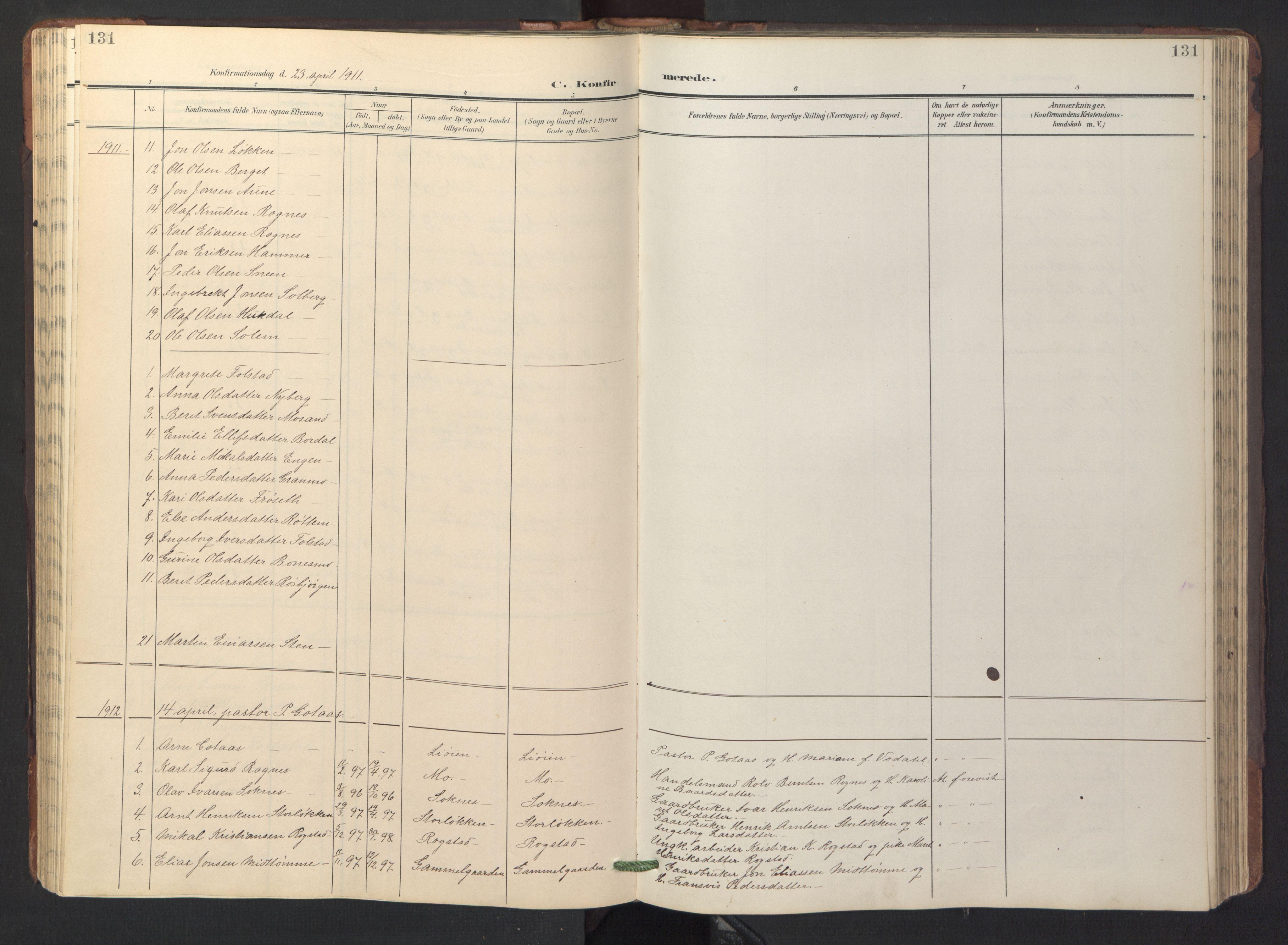 SAT, Ministerialprotokoller, klokkerbøker og fødselsregistre - Sør-Trøndelag, 687/L1019: Klokkerbok nr. 687C03, 1904-1931, s. 131