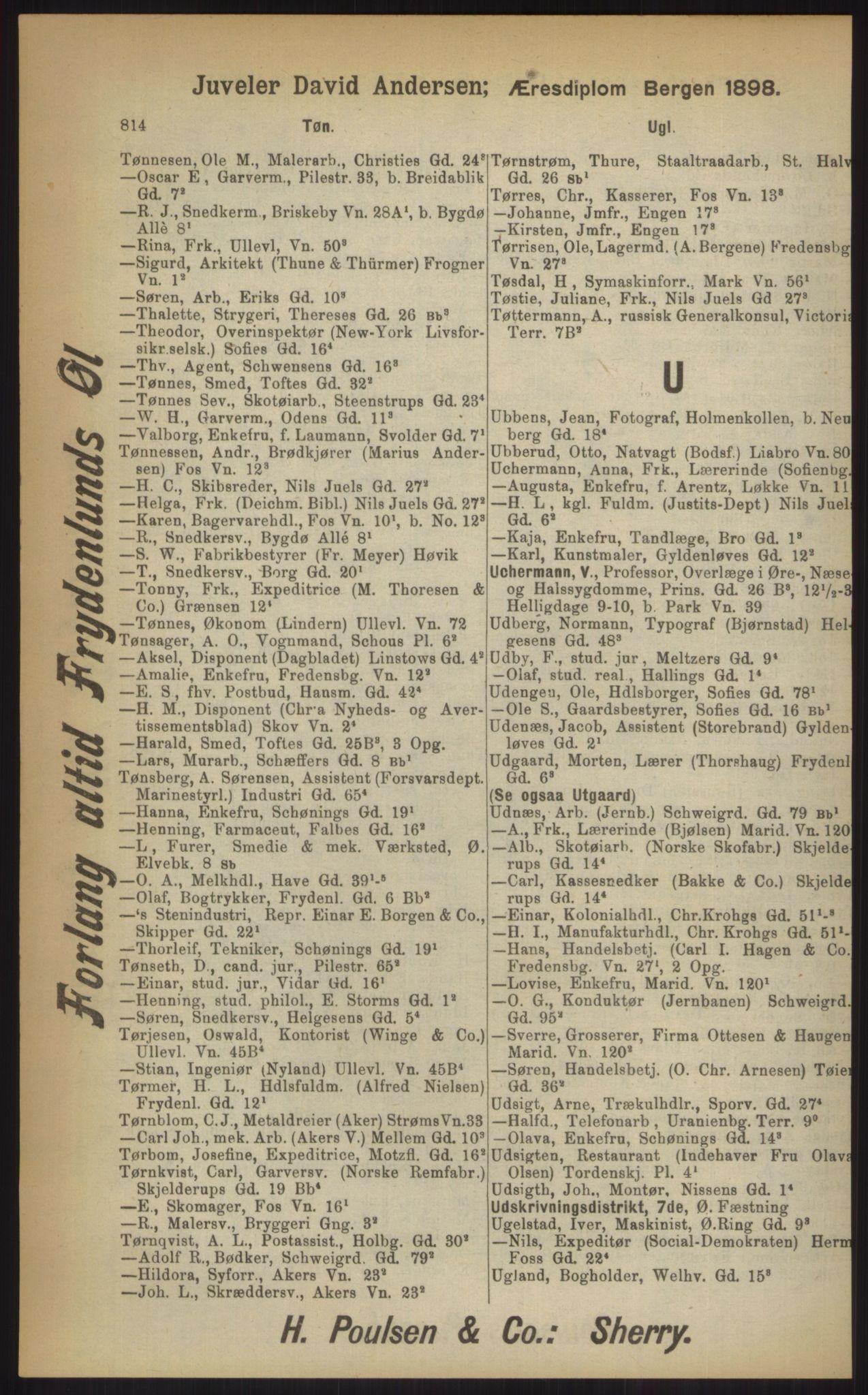 RA, Kristiania adressebok (publikasjon)*, 1903, s. 814