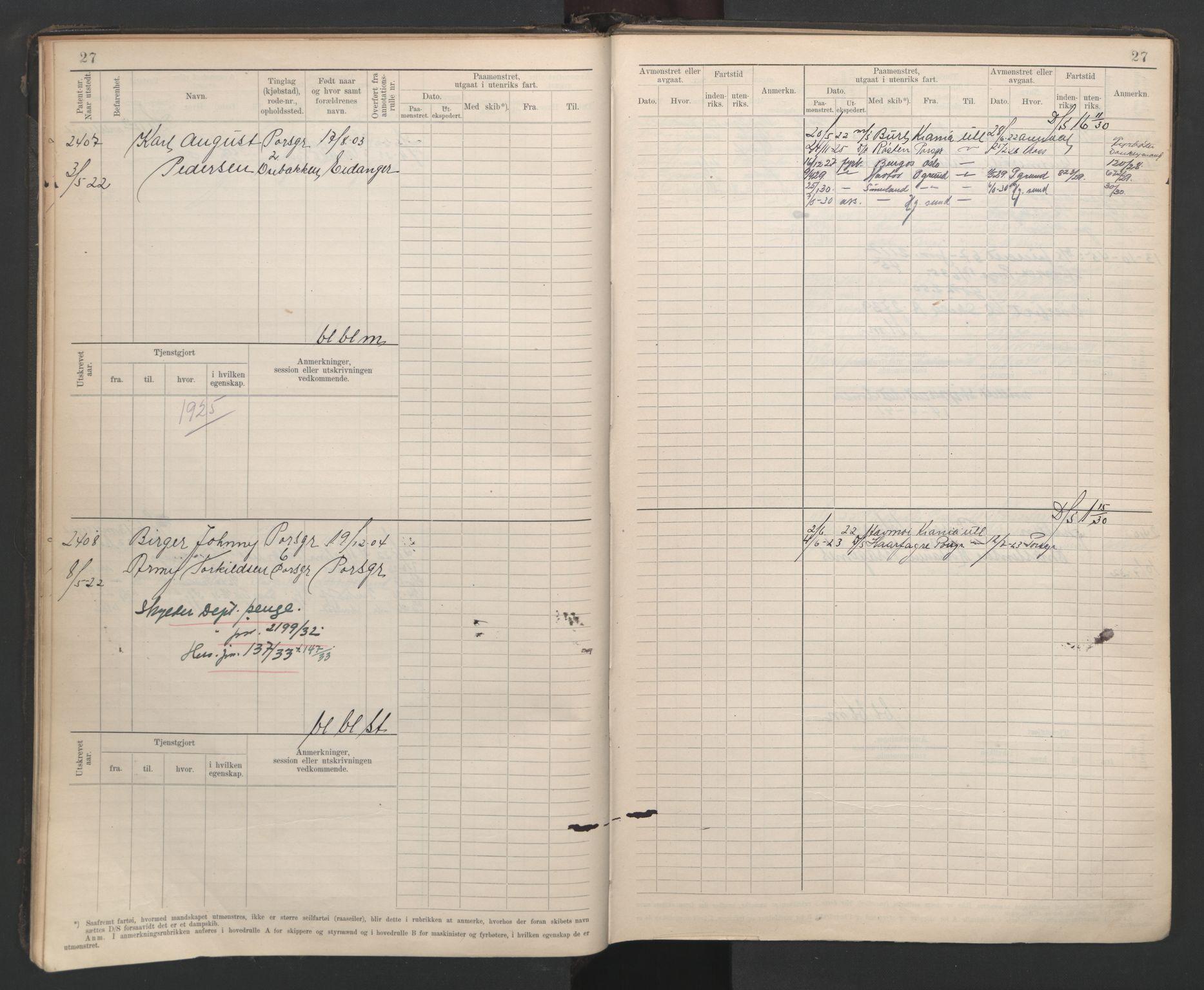 SAKO, Porsgrunn innrulleringskontor, F/Fb/L0007: Annotasjonsrulle, 1926-1948, s. 27