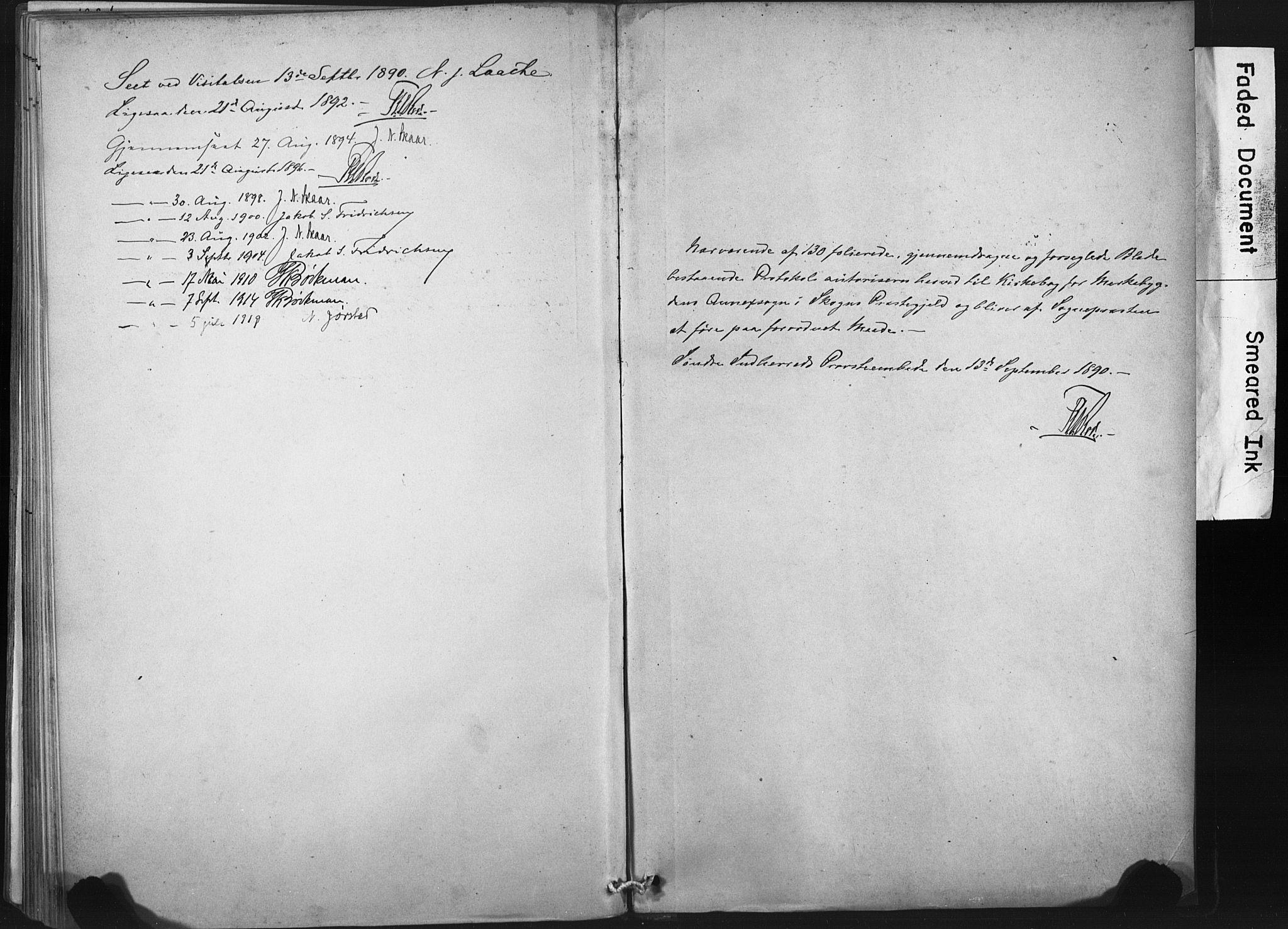 SAT, Ministerialprotokoller, klokkerbøker og fødselsregistre - Nord-Trøndelag, 718/L0175: Ministerialbok nr. 718A01, 1890-1923