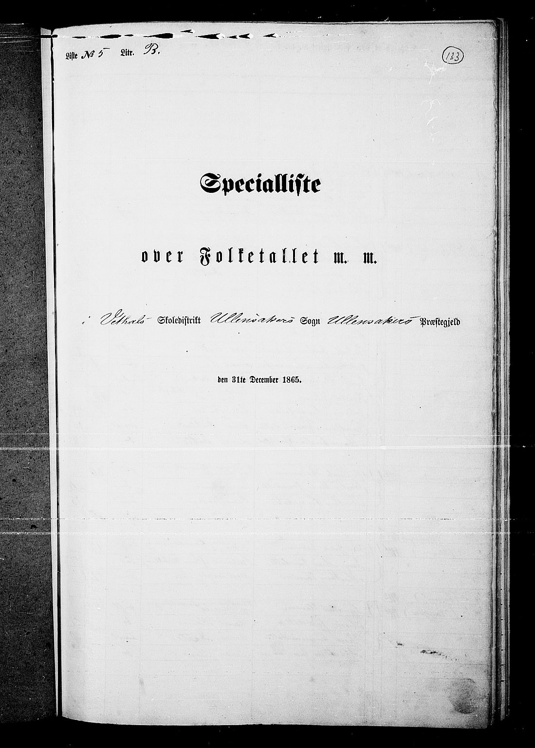 RA, Folketelling 1865 for 0235P Ullensaker prestegjeld, 1865, s. 117