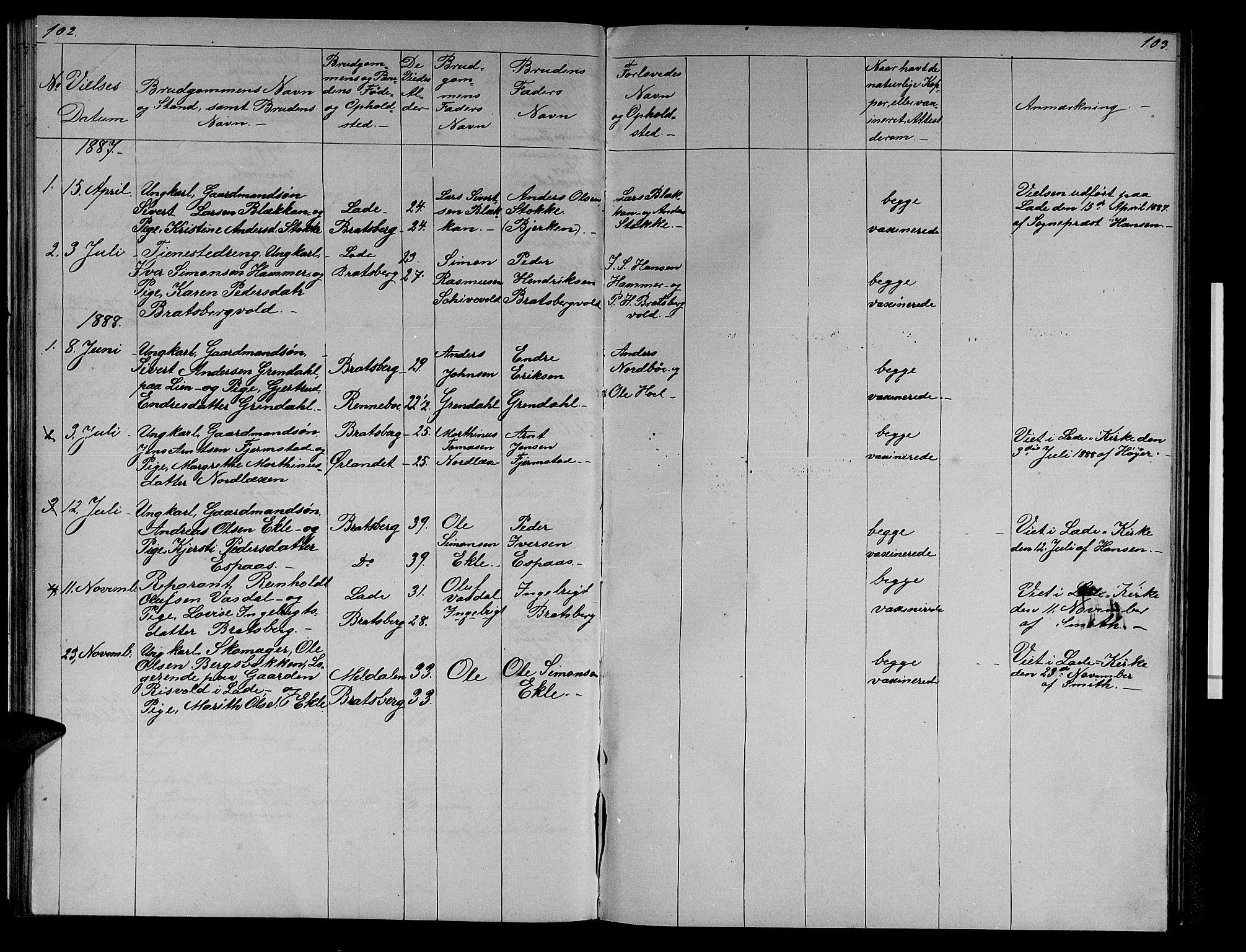 SAT, Ministerialprotokoller, klokkerbøker og fødselsregistre - Sør-Trøndelag, 608/L0340: Klokkerbok nr. 608C06, 1864-1889, s. 102-103