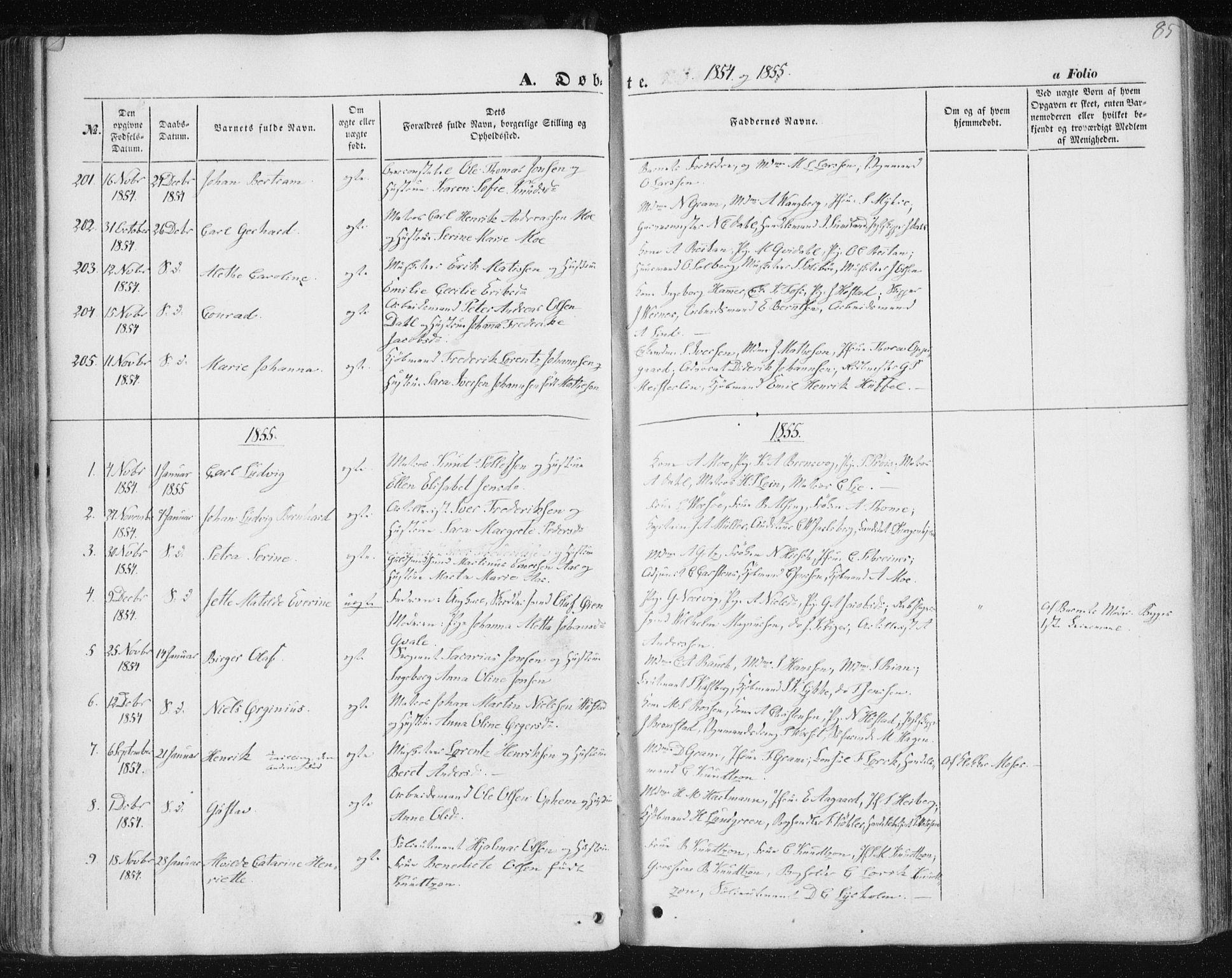 SAT, Ministerialprotokoller, klokkerbøker og fødselsregistre - Sør-Trøndelag, 602/L0112: Ministerialbok nr. 602A10, 1848-1859, s. 85