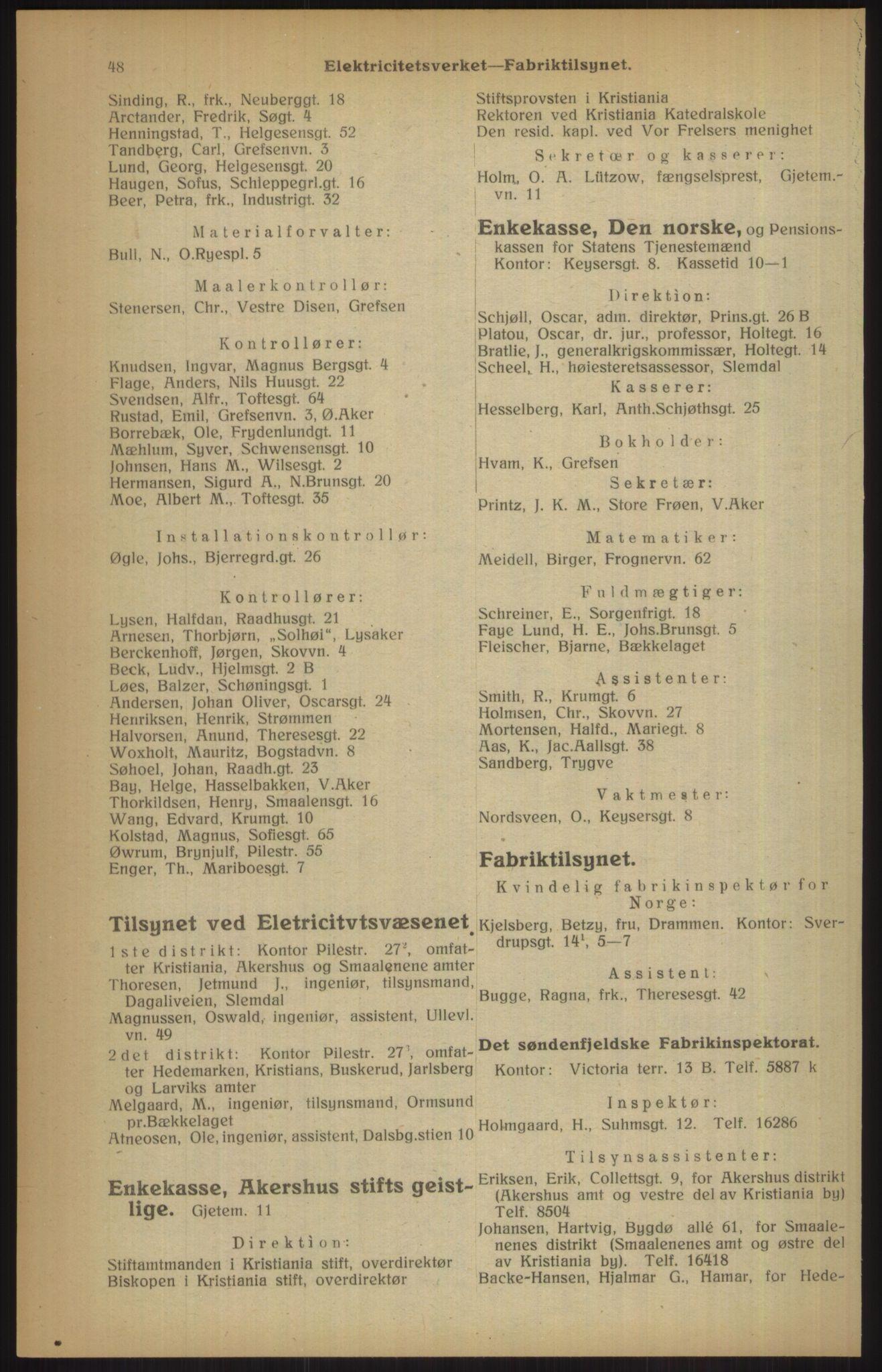 RA, Kristiania adressebok (publikasjon)*, 1915, s. 48