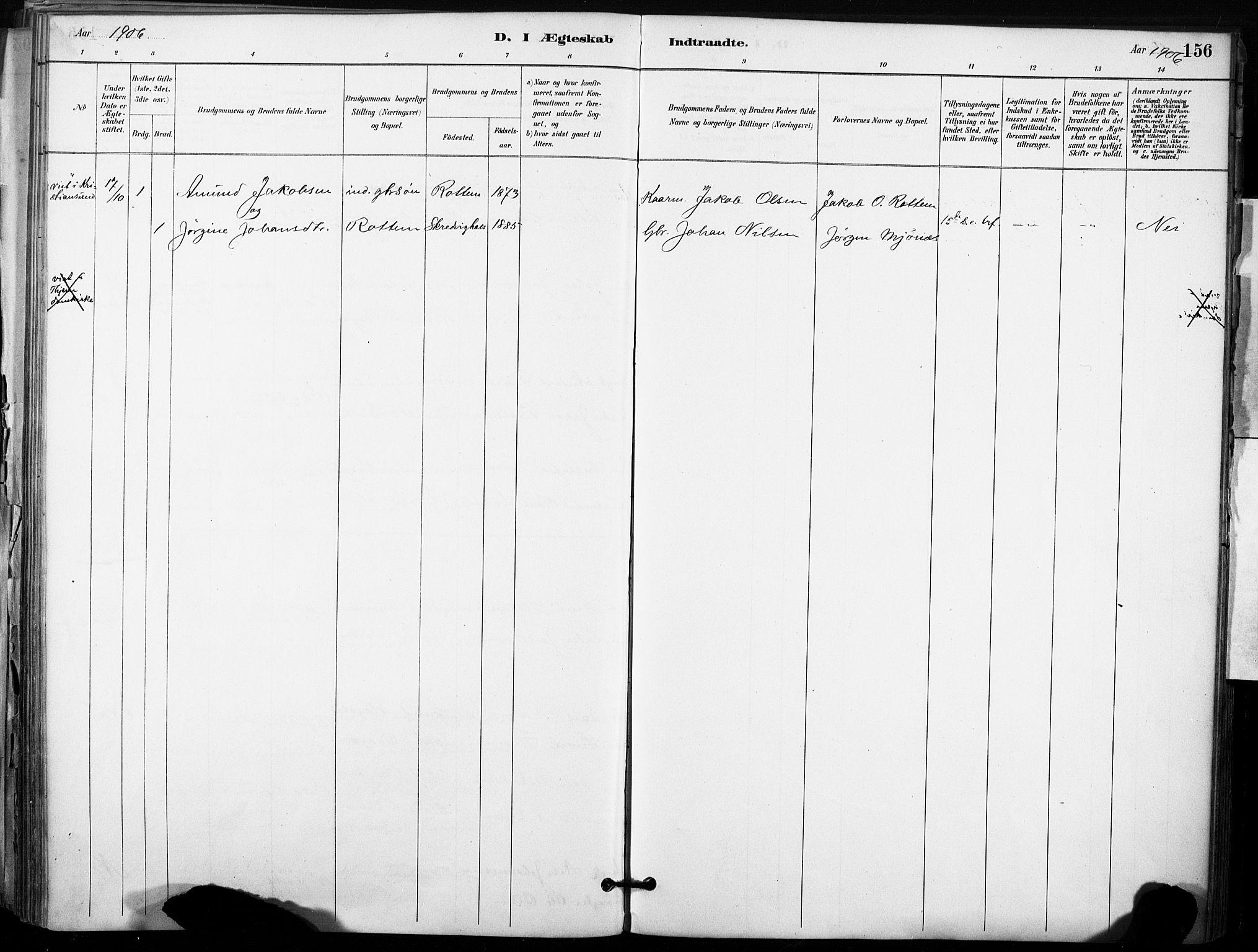SAT, Ministerialprotokoller, klokkerbøker og fødselsregistre - Sør-Trøndelag, 633/L0518: Ministerialbok nr. 633A01, 1884-1906, s. 156