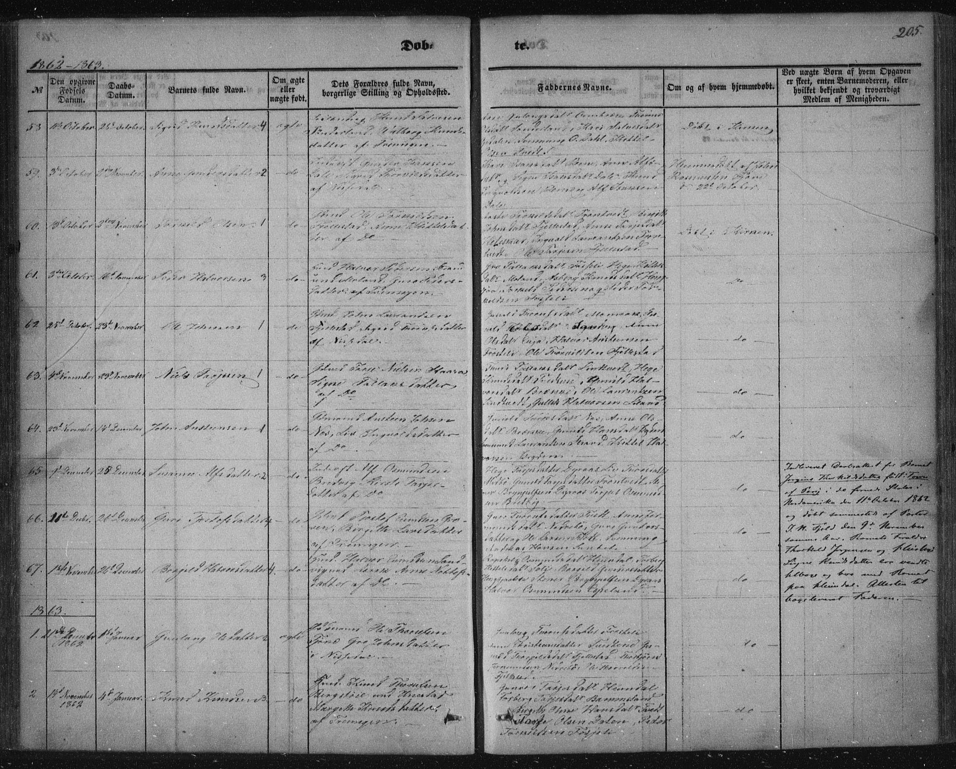 SAKO, Nissedal kirkebøker, F/Fa/L0003: Ministerialbok nr. I 3, 1846-1870, s. 204-205