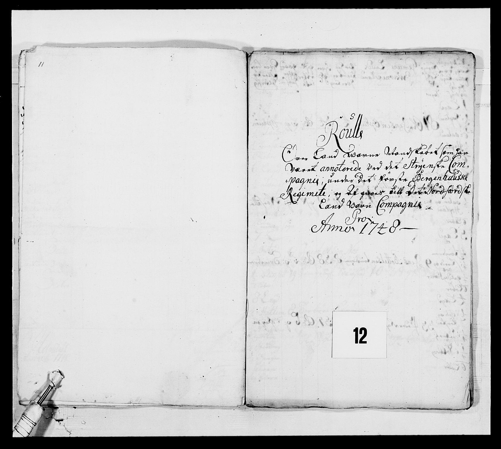 RA, Kommanderende general (KG I) med Det norske krigsdirektorium, E/Ea/L0517: 1. Bergenhusiske regiment, 1742-1756, s. 95