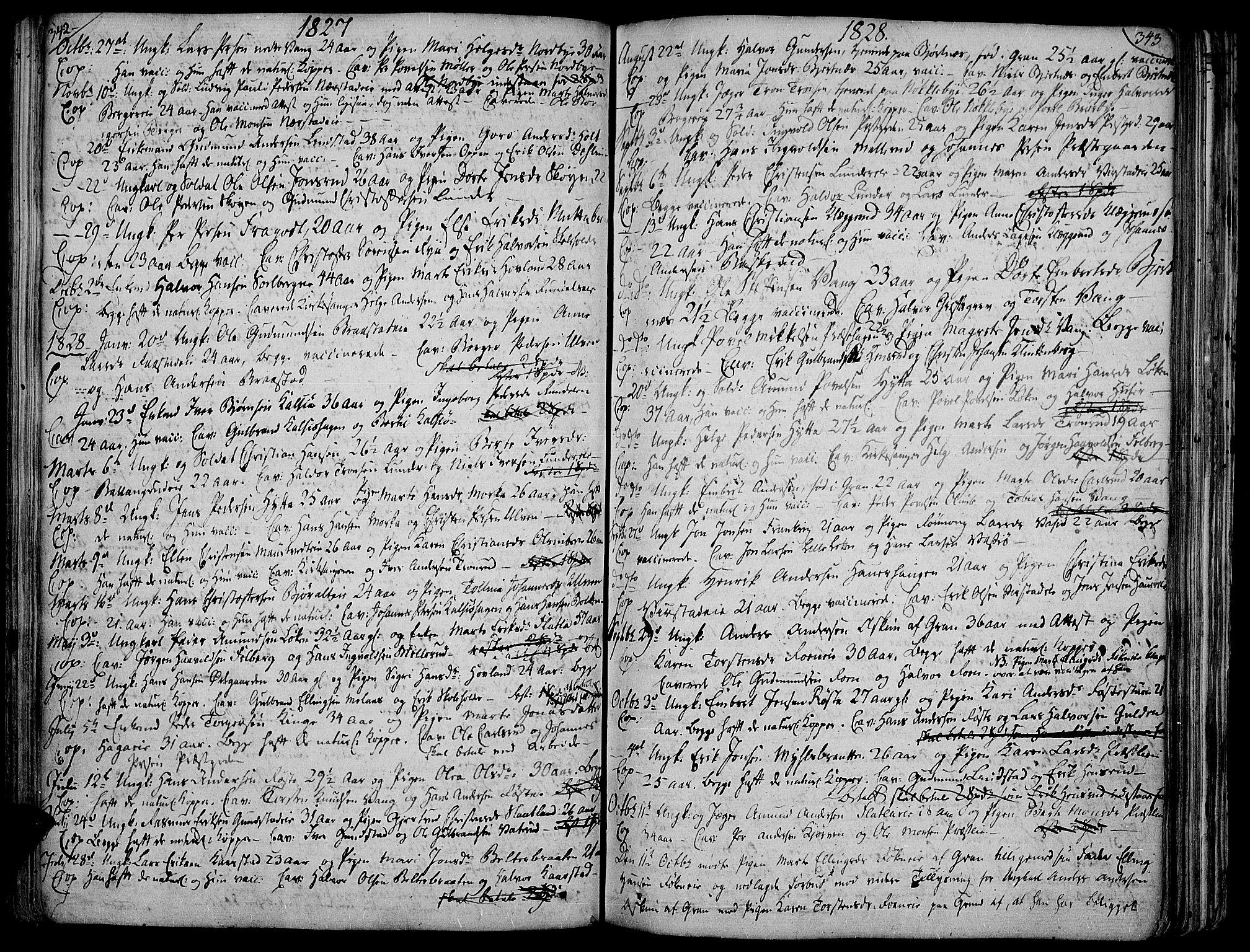 SAH, Jevnaker prestekontor, Ministerialbok nr. 4, 1800-1861, s. 342-343