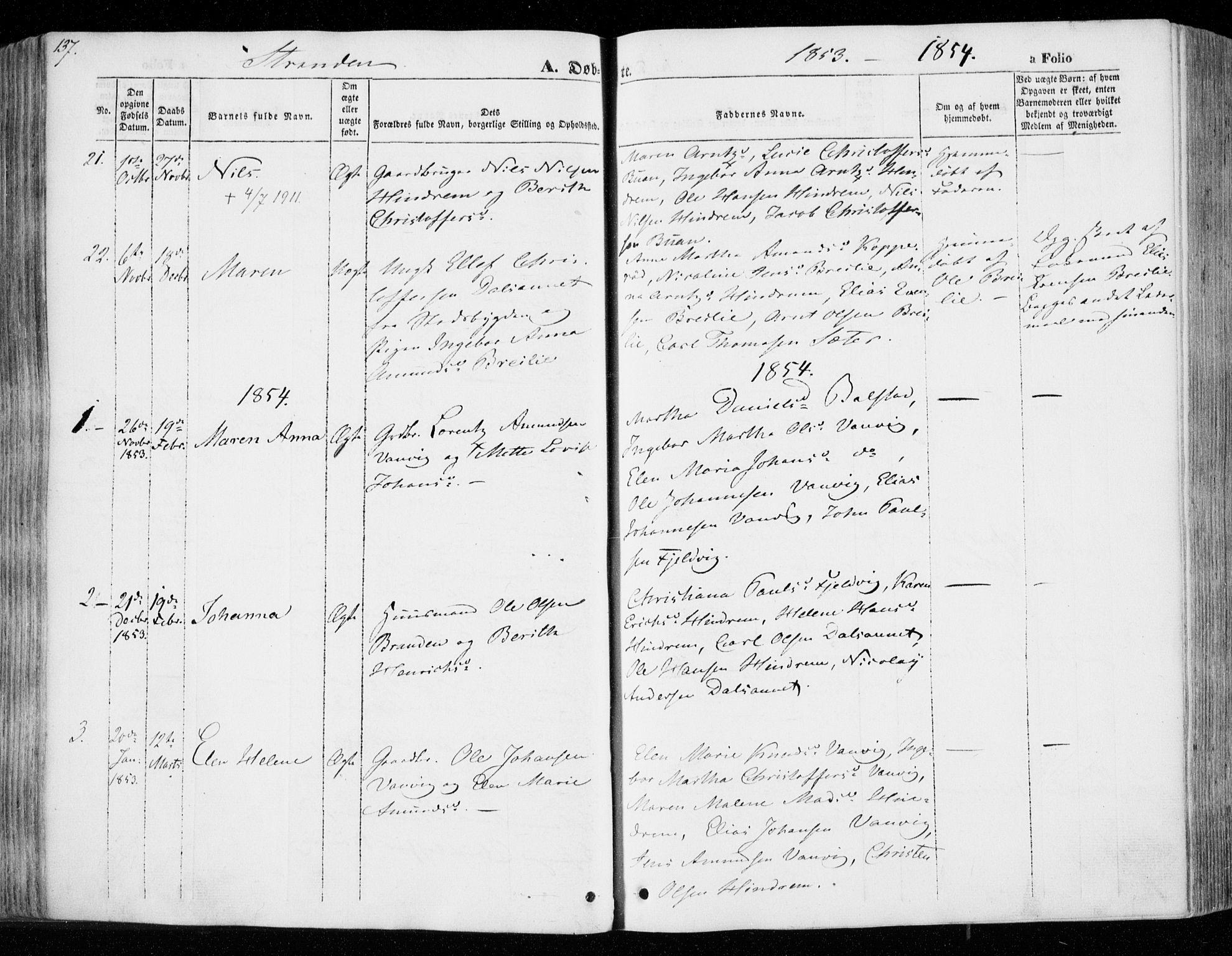 SAT, Ministerialprotokoller, klokkerbøker og fødselsregistre - Nord-Trøndelag, 701/L0007: Ministerialbok nr. 701A07 /2, 1842-1854, s. 137