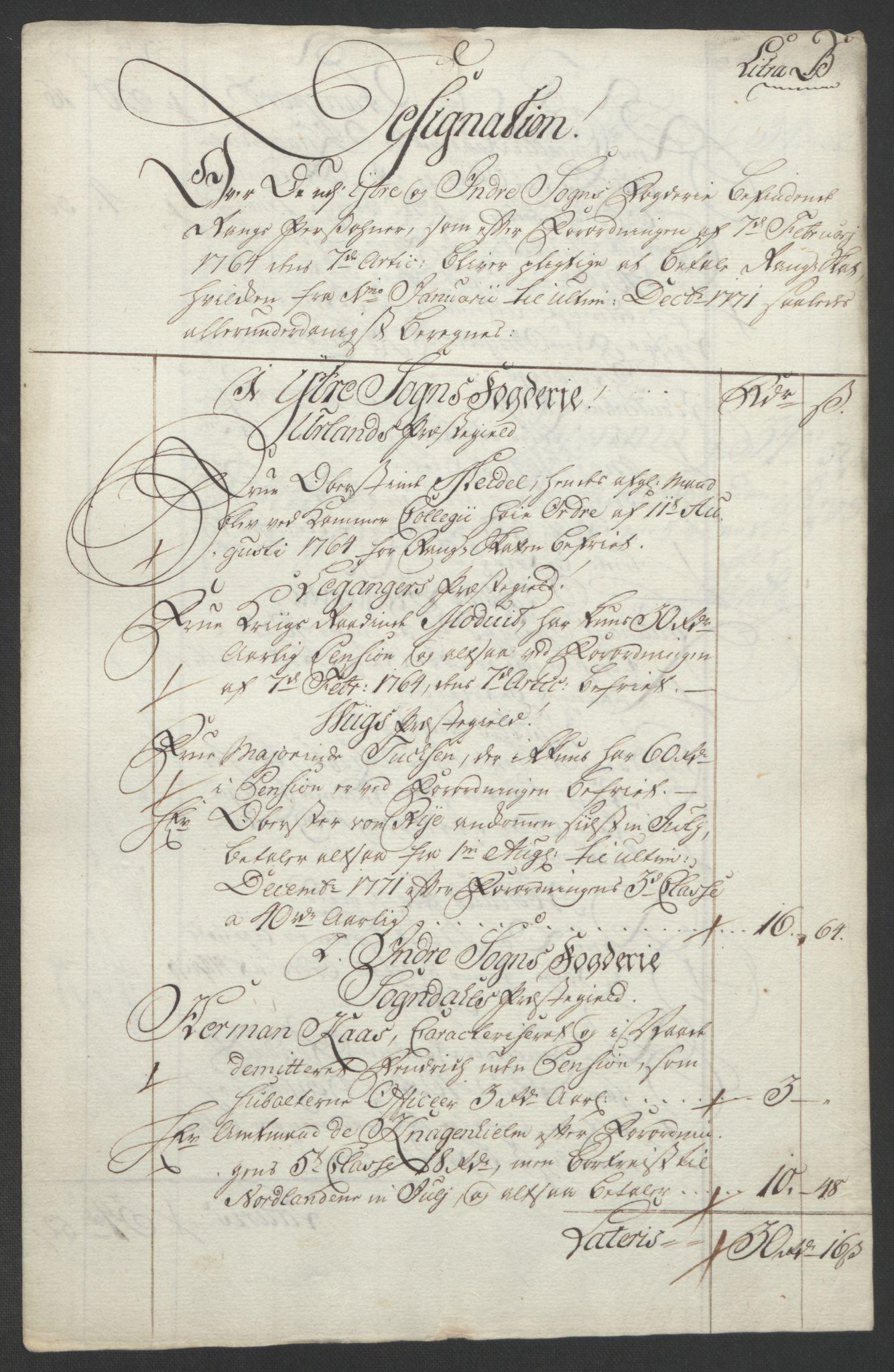 RA, Rentekammeret inntil 1814, Realistisk ordnet avdeling, Ol/L0018: [Gg 10]: Ekstraskatten, 23.09.1762. Sogn, 1762-1772, s. 348