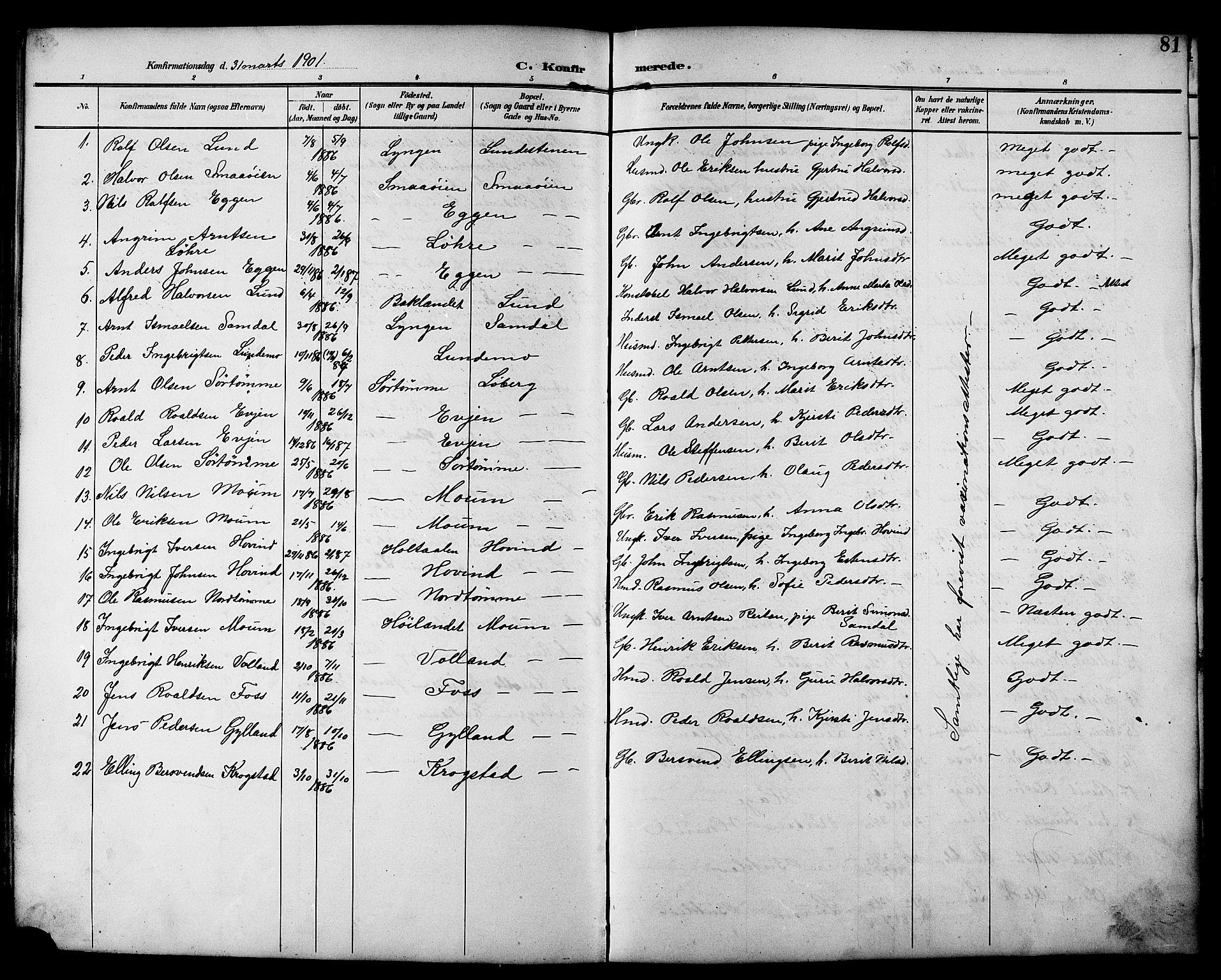 SAT, Ministerialprotokoller, klokkerbøker og fødselsregistre - Sør-Trøndelag, 692/L1111: Klokkerbok nr. 692C06, 1890-1904, s. 81