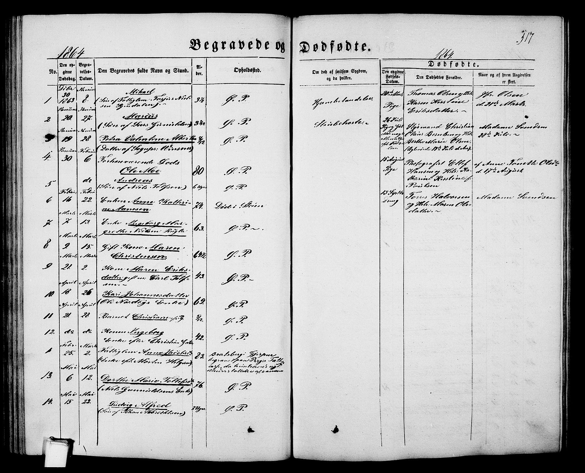SAKO, Porsgrunn kirkebøker , G/Gb/L0004: Klokkerbok nr. II 4, 1853-1882, s. 517