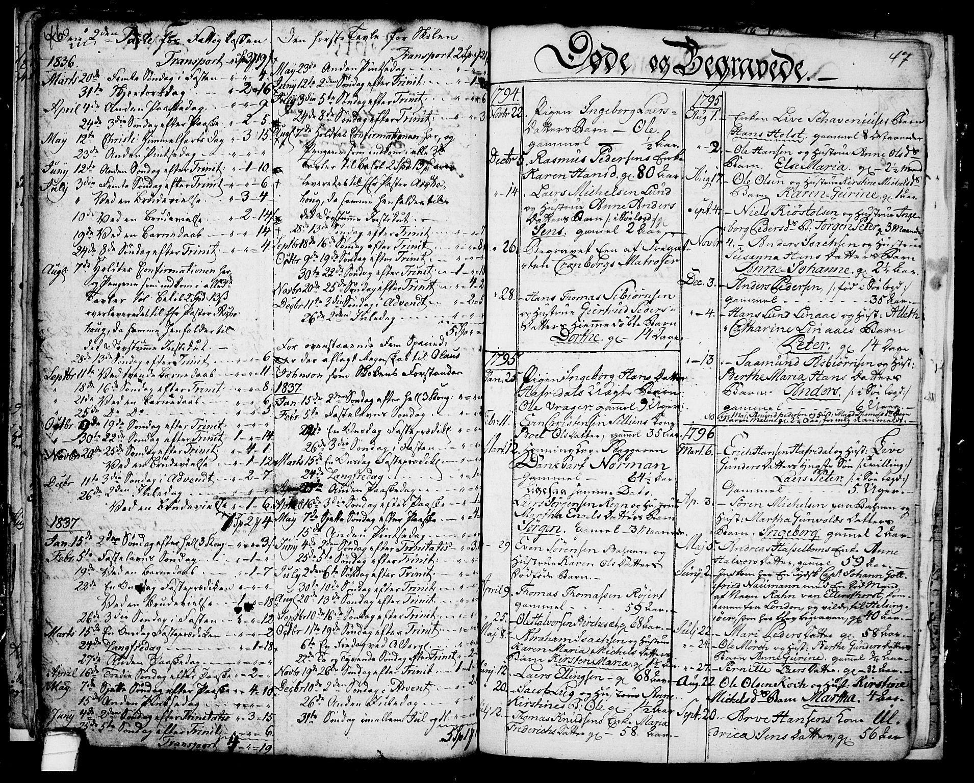 SAKO, Langesund kirkebøker, G/Ga/L0001: Klokkerbok nr. 1, 1783-1801, s. 46-47