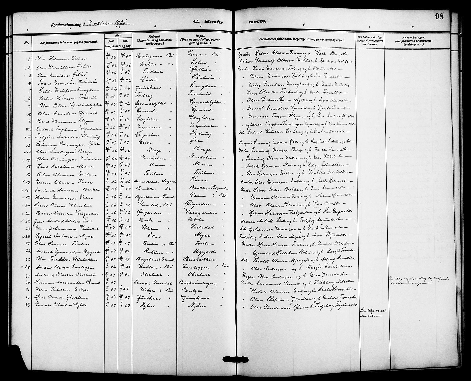 SAKO, Bø kirkebøker, G/Ga/L0007: Klokkerbok nr. 7, 1909-1924, s. 98