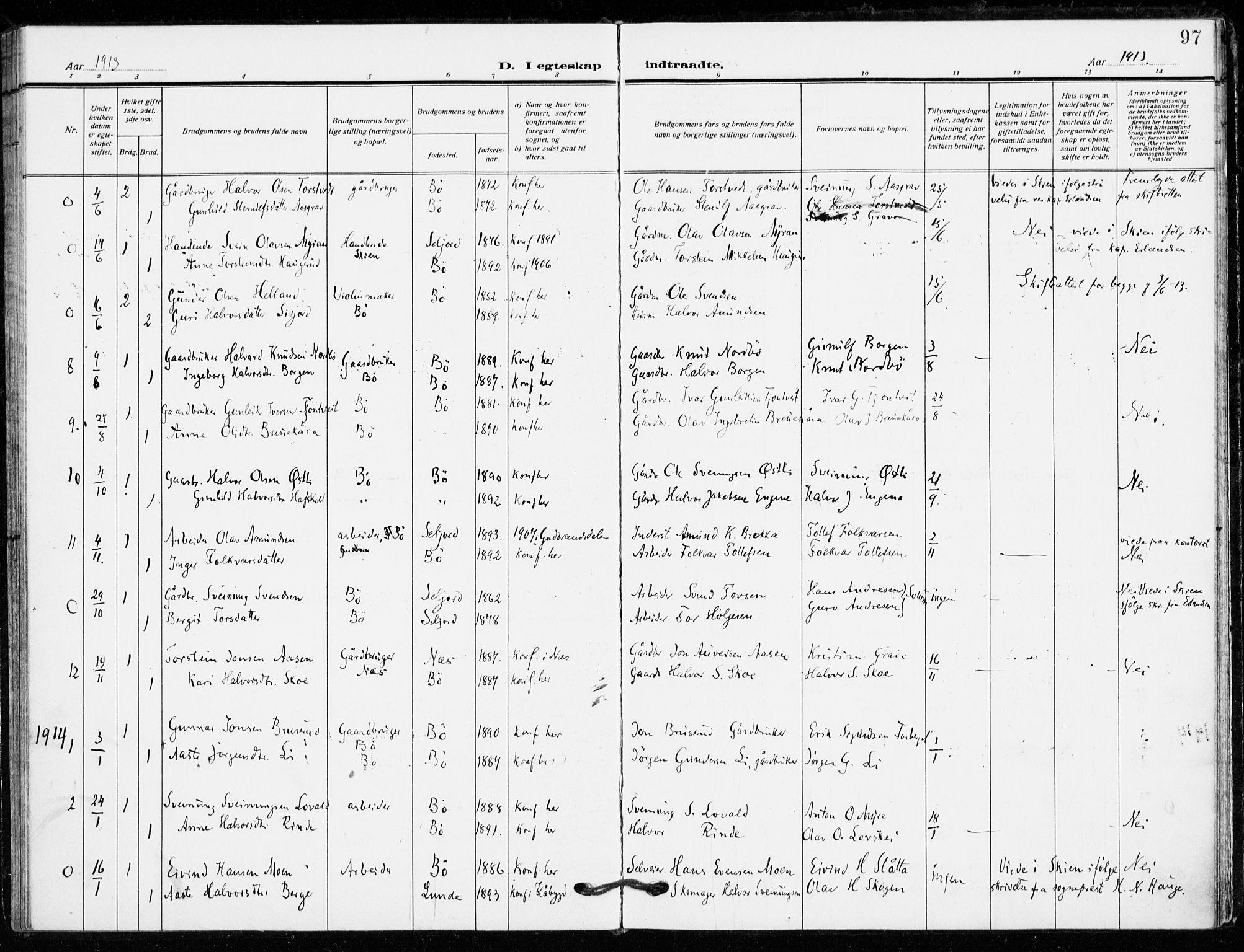 SAKO, Bø kirkebøker, F/Fa/L0013: Ministerialbok nr. 13, 1909-1921, s. 97