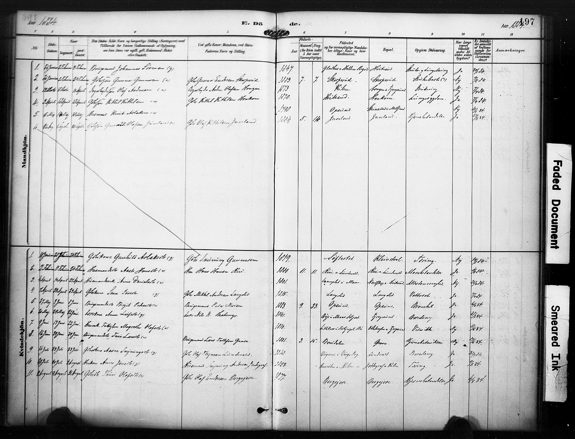 SAKO, Kviteseid kirkebøker, F/Fa/L0008: Ministerialbok nr. I 8, 1882-1903, s. 197