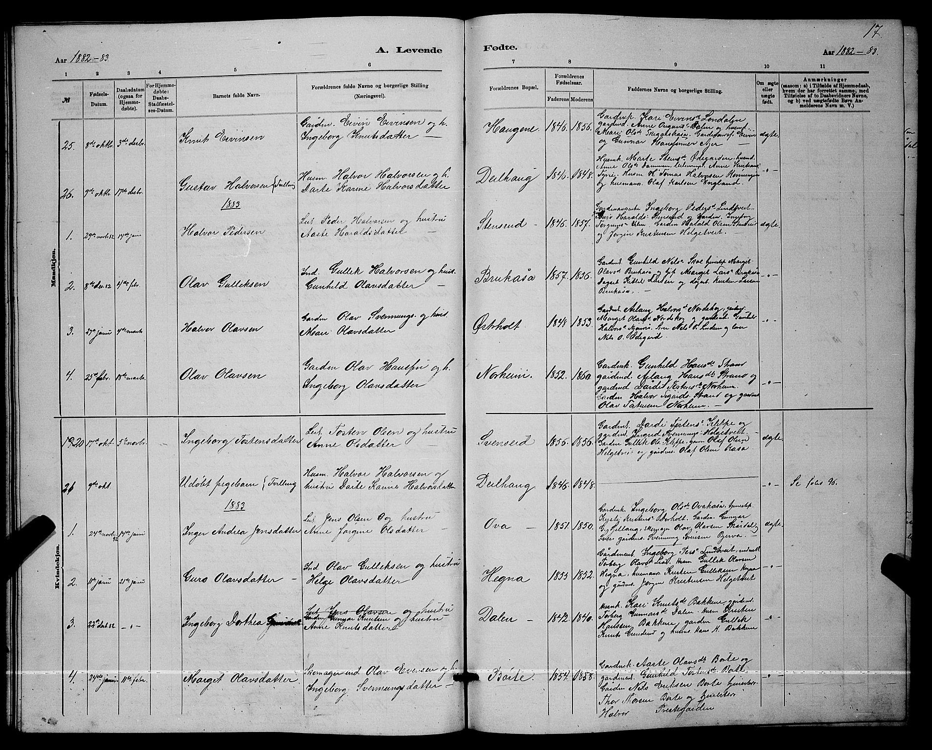 SAKO, Lunde kirkebøker, G/Ga/L0001b: Klokkerbok nr. I 1, 1879-1887, s. 17