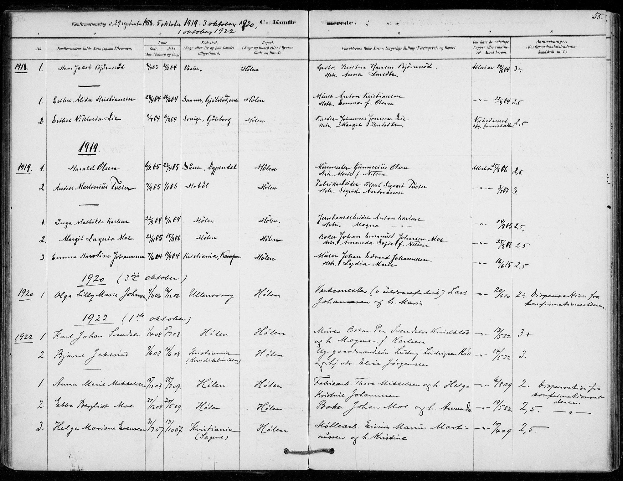 SAO, Vestby prestekontor Kirkebøker, F/Fe/L0001: Ministerialbok nr. V 1, 1878-1931, s. 55