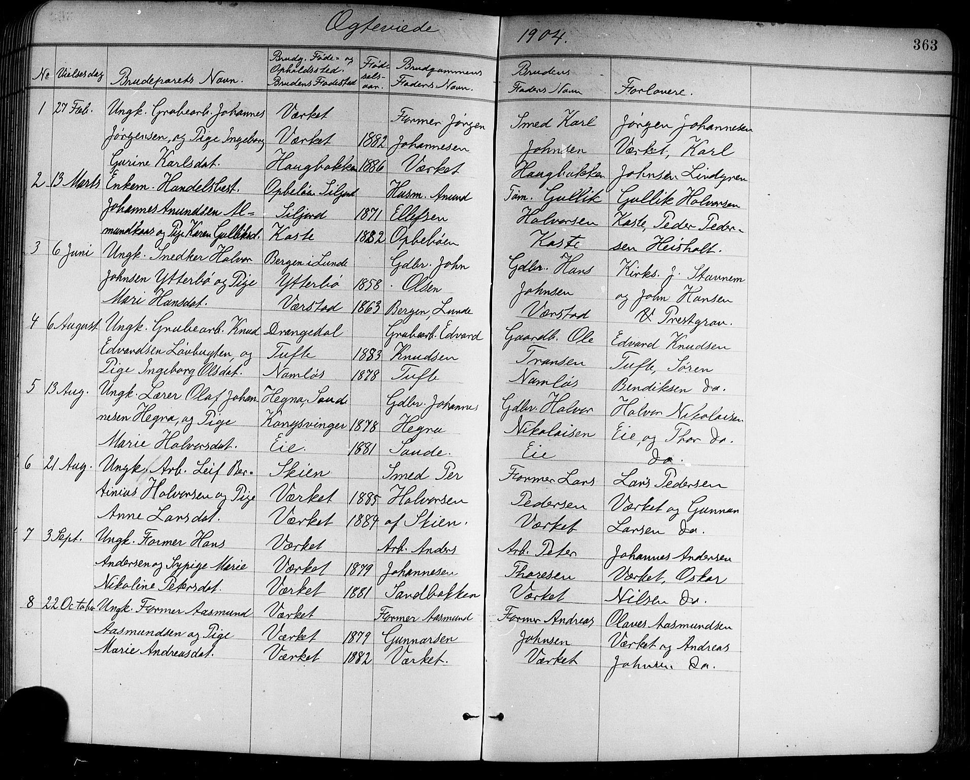 SAKO, Holla kirkebøker, G/Ga/L0005: Klokkerbok nr. I 5, 1891-1917, s. 363