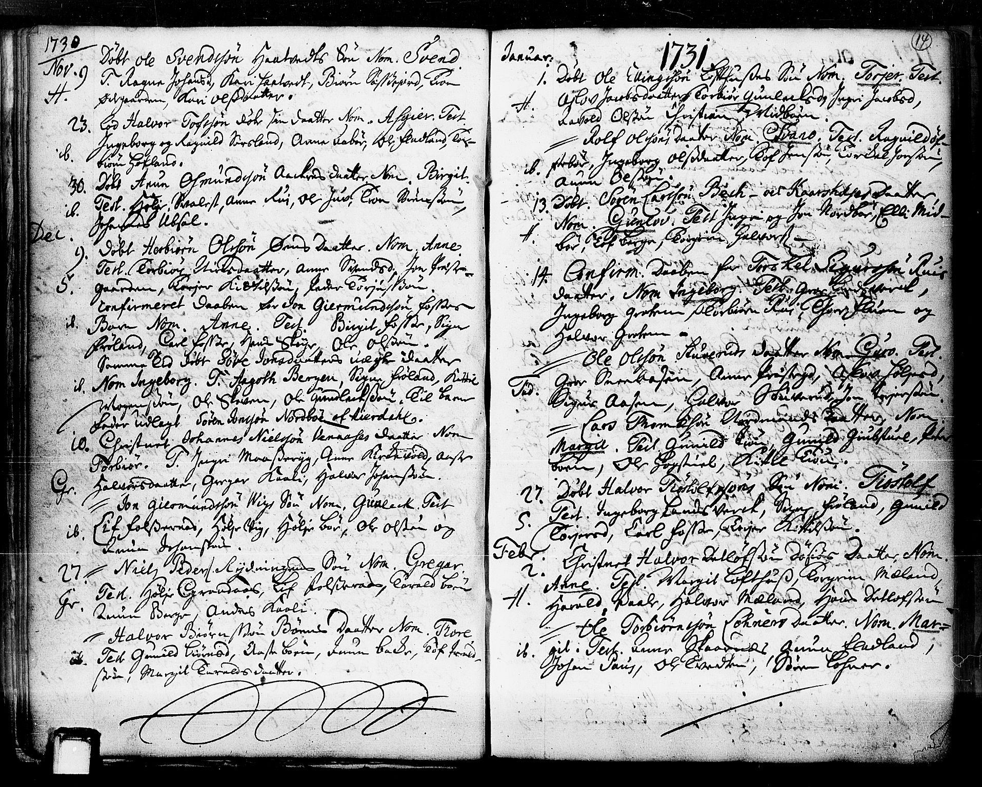 SAKO, Hjartdal kirkebøker, F/Fa/L0003: Ministerialbok nr. I 3, 1727-1775, s. 14