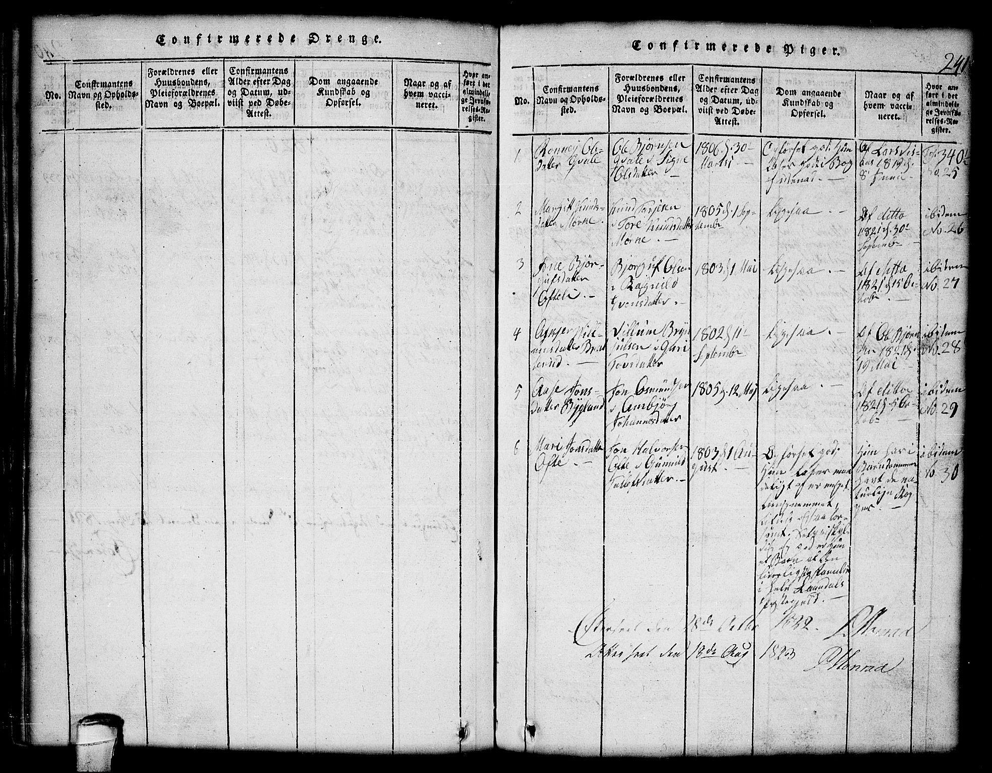 SAKO, Lårdal kirkebøker, G/Gc/L0001: Klokkerbok nr. III 1, 1815-1854, s. 241