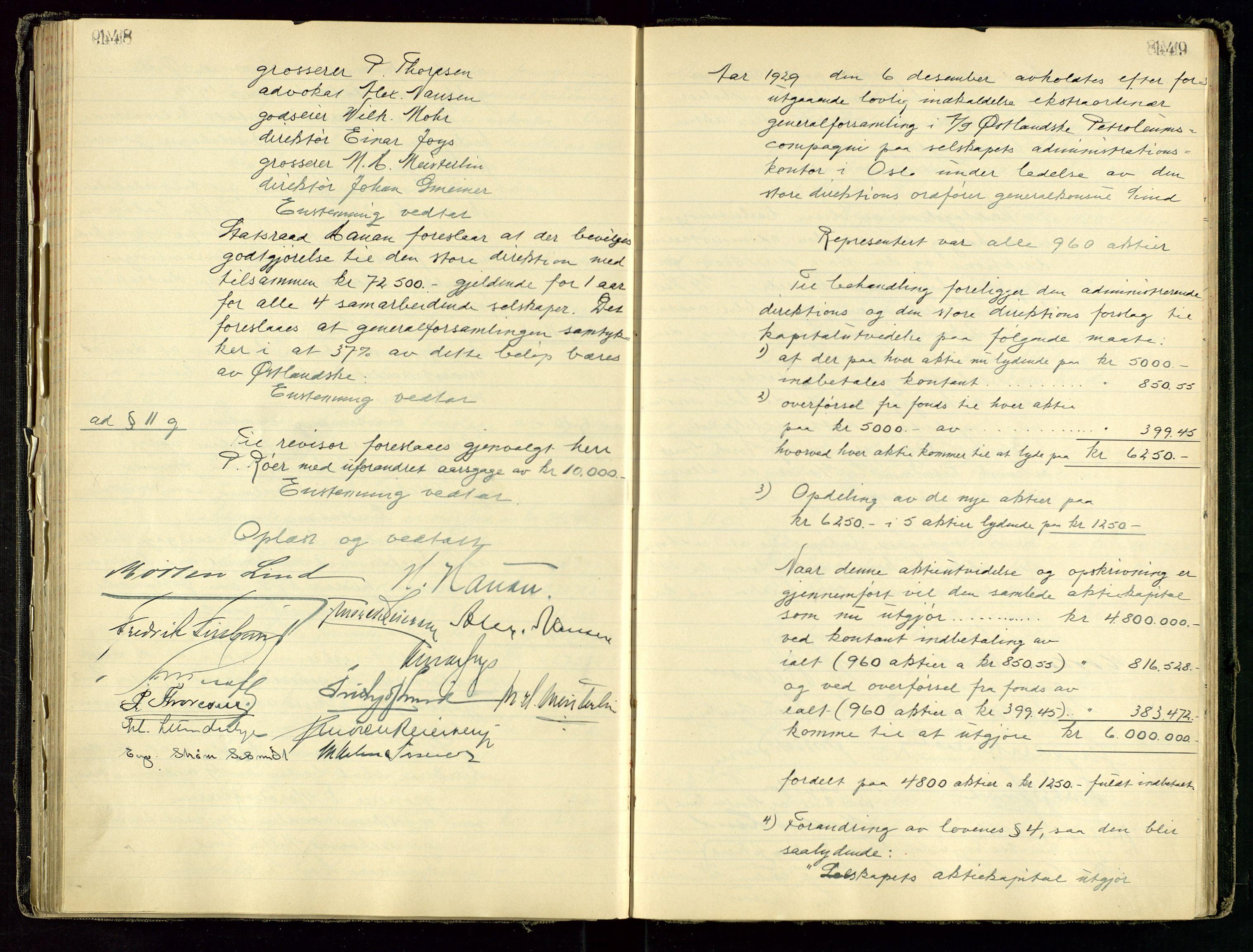 SAST, PA 1534 - Østlandske Petroleumscompagni A/S, A/Aa/L0001: Generalforsamlinger og direksjonsprotokoller., 1892-1960, s. 148-149