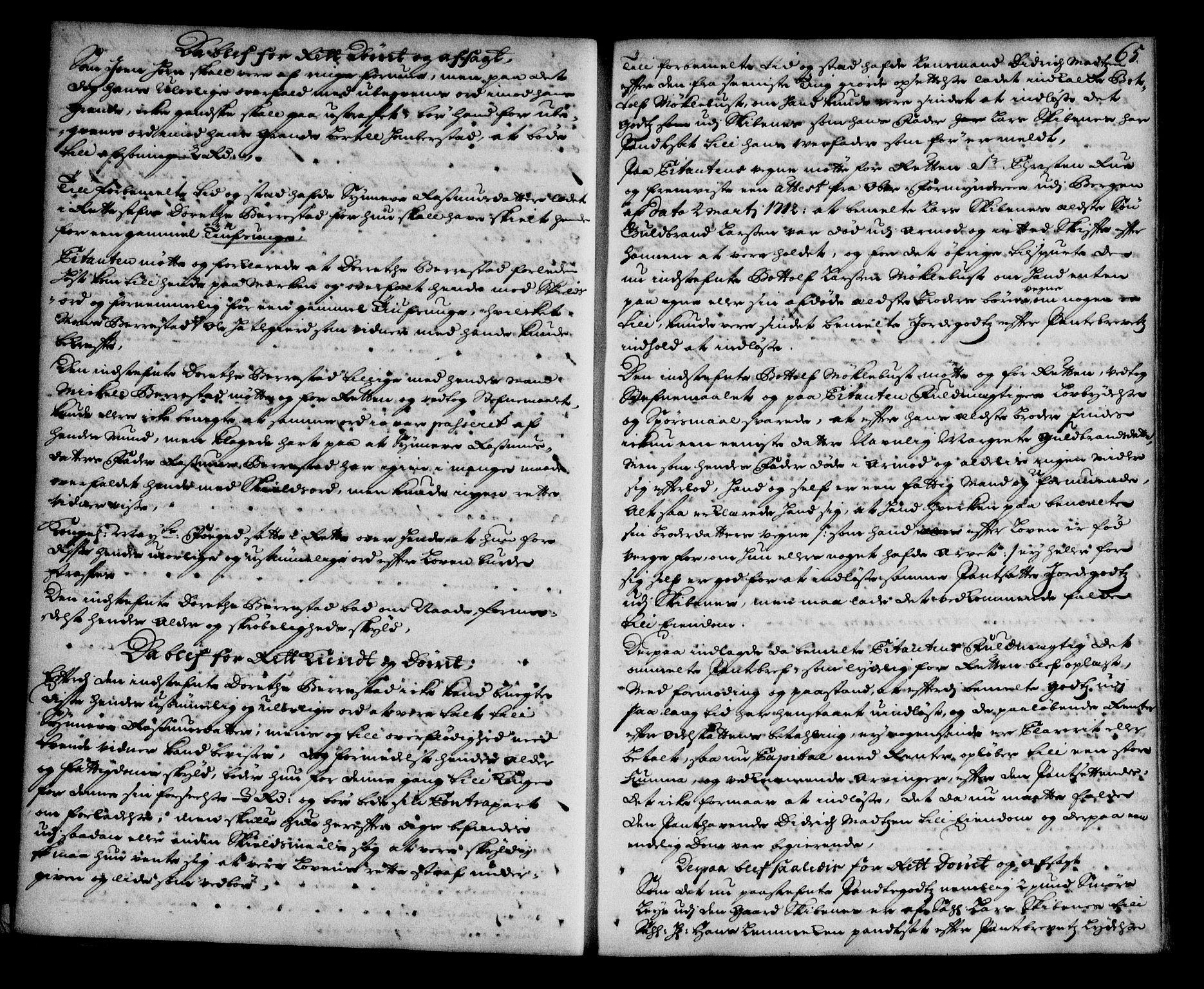 SAB, Nordfjord sorenskriveri, 01/01a/L0018: Tingbøker (justisprotokoller), 1711-1713, s. 64b-65a