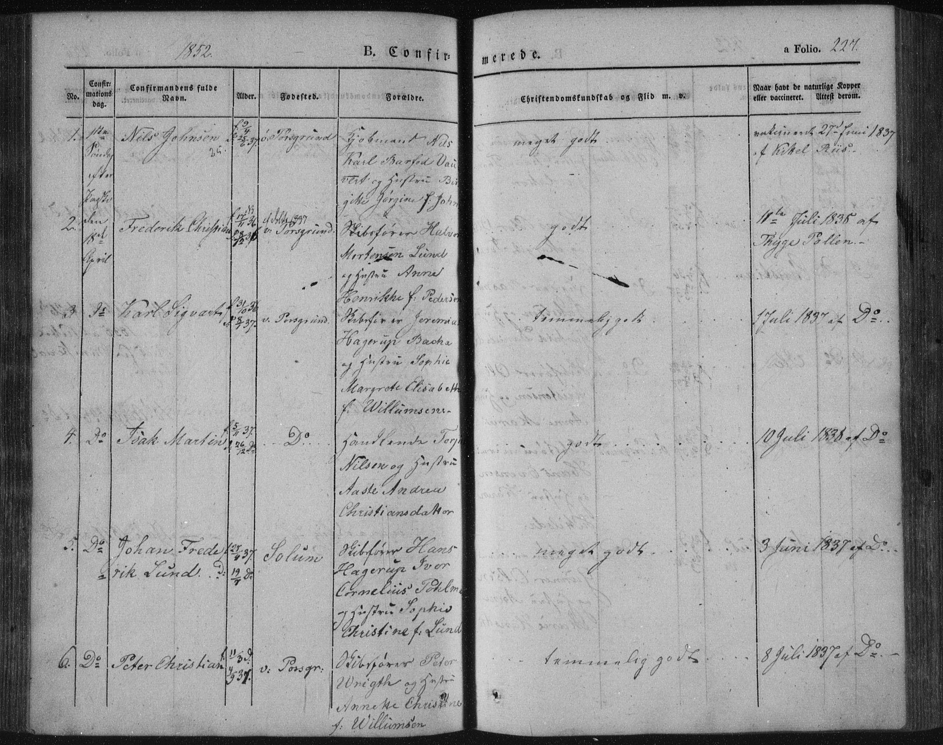 SAKO, Porsgrunn kirkebøker , F/Fa/L0006: Ministerialbok nr. 6, 1841-1857, s. 227