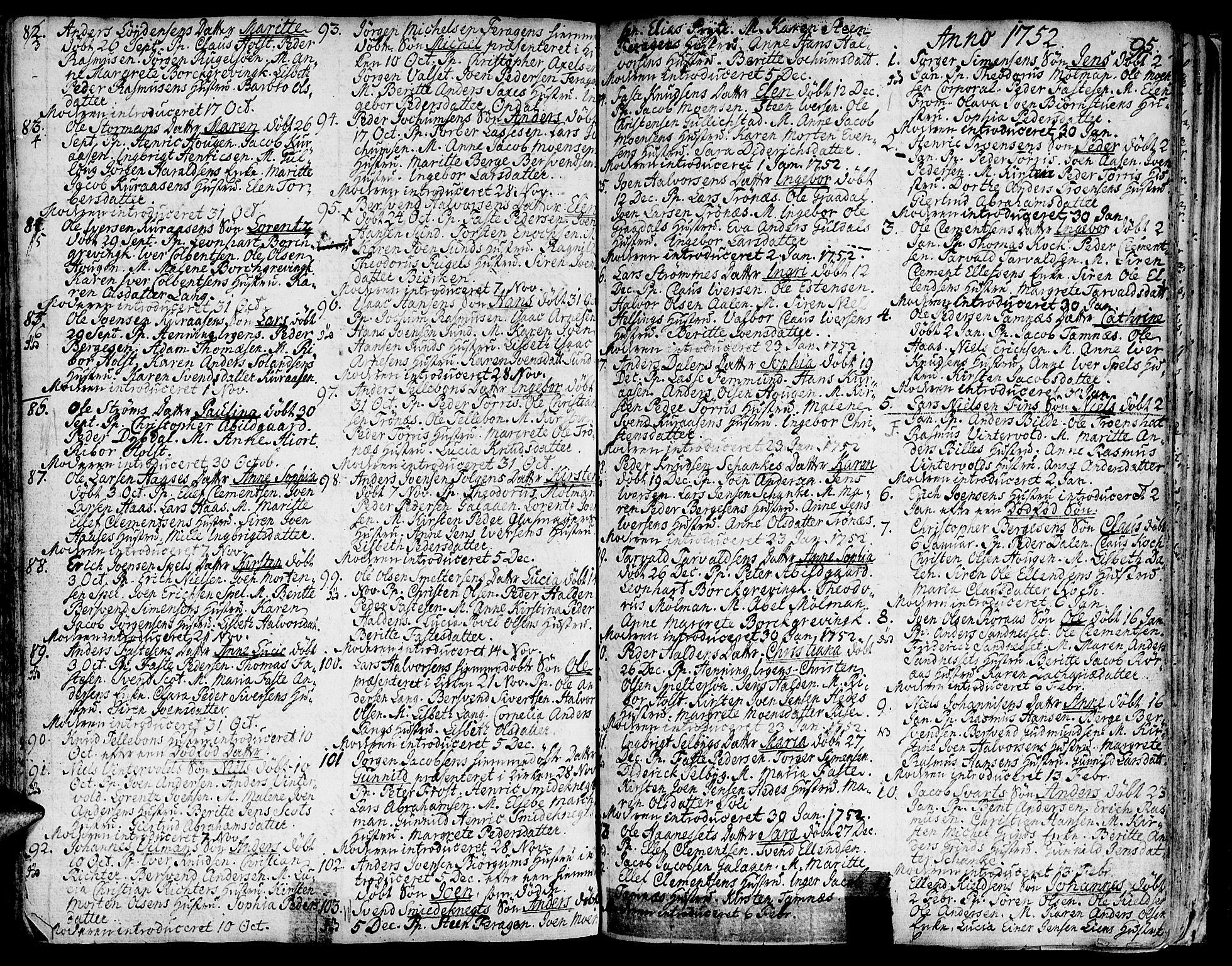 SAT, Ministerialprotokoller, klokkerbøker og fødselsregistre - Sør-Trøndelag, 681/L0925: Ministerialbok nr. 681A03, 1727-1766, s. 95