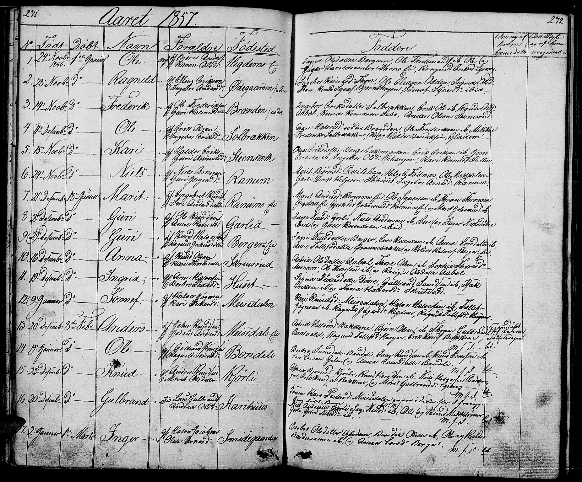 SAH, Nord-Aurdal prestekontor, Klokkerbok nr. 1, 1834-1887, s. 271-272