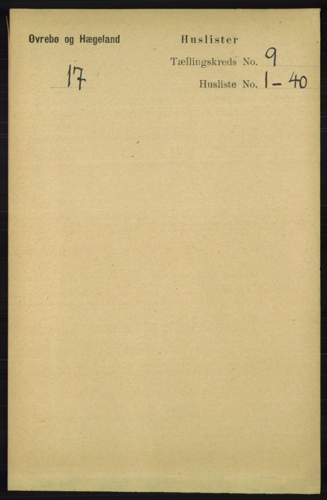 RA, Folketelling 1891 for 1016 Øvrebø og Hægeland herred, 1891, s. 1701