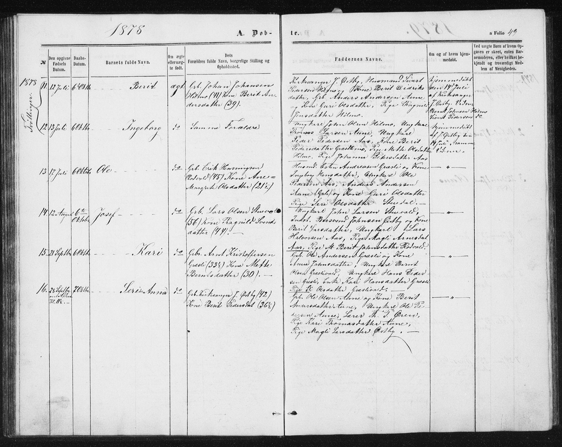 SAT, Ministerialprotokoller, klokkerbøker og fødselsregistre - Sør-Trøndelag, 698/L1166: Klokkerbok nr. 698C03, 1861-1887, s. 49
