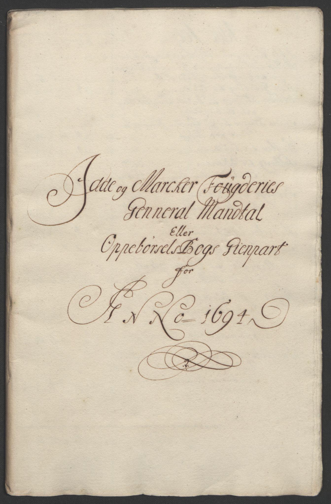 RA, Rentekammeret inntil 1814, Reviderte regnskaper, Fogderegnskap, R01/L0012: Fogderegnskap Idd og Marker, 1694-1695, s. 60
