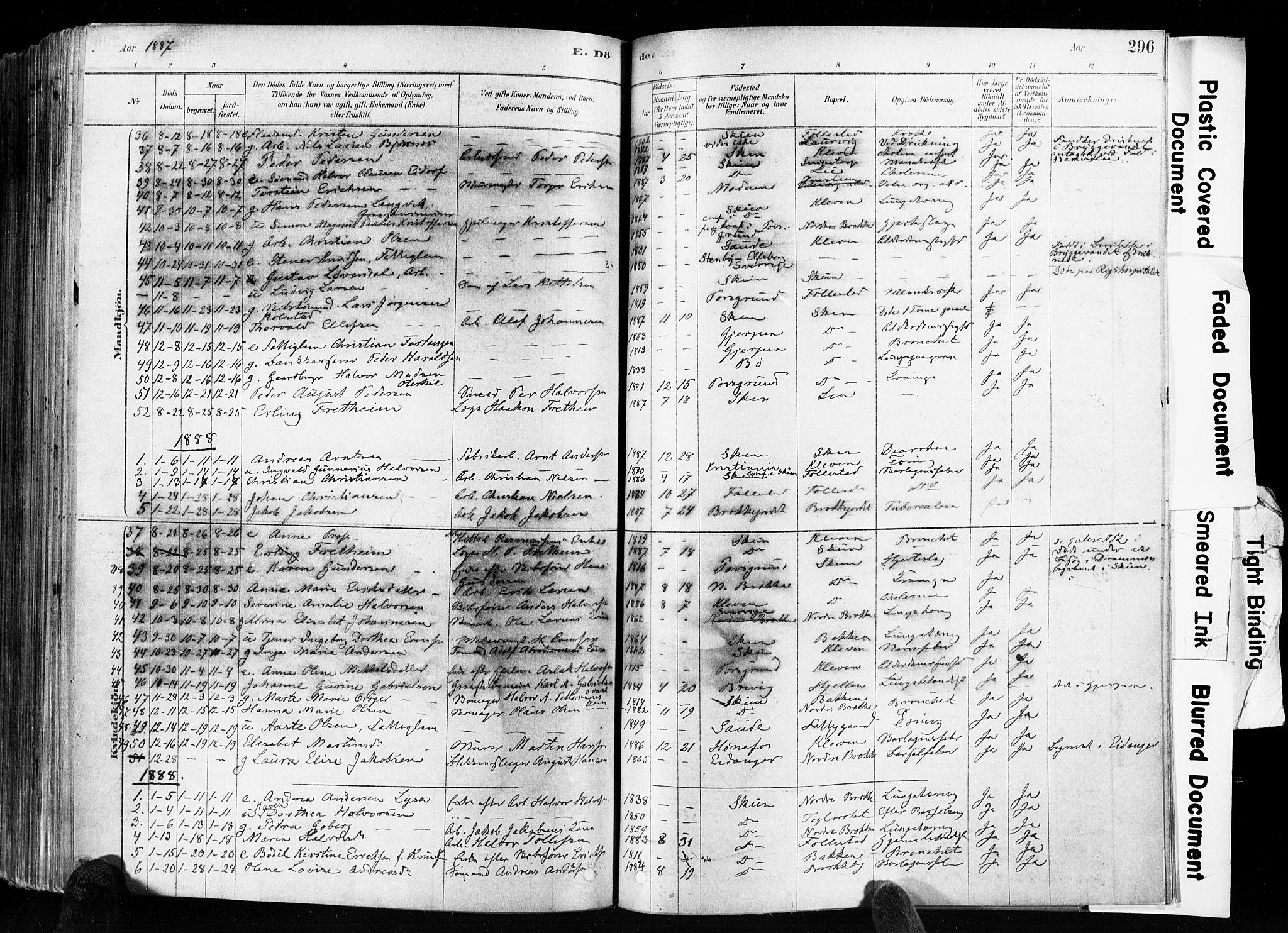 SAKO, Skien kirkebøker, F/Fa/L0009: Ministerialbok nr. 9, 1878-1890, s. 296