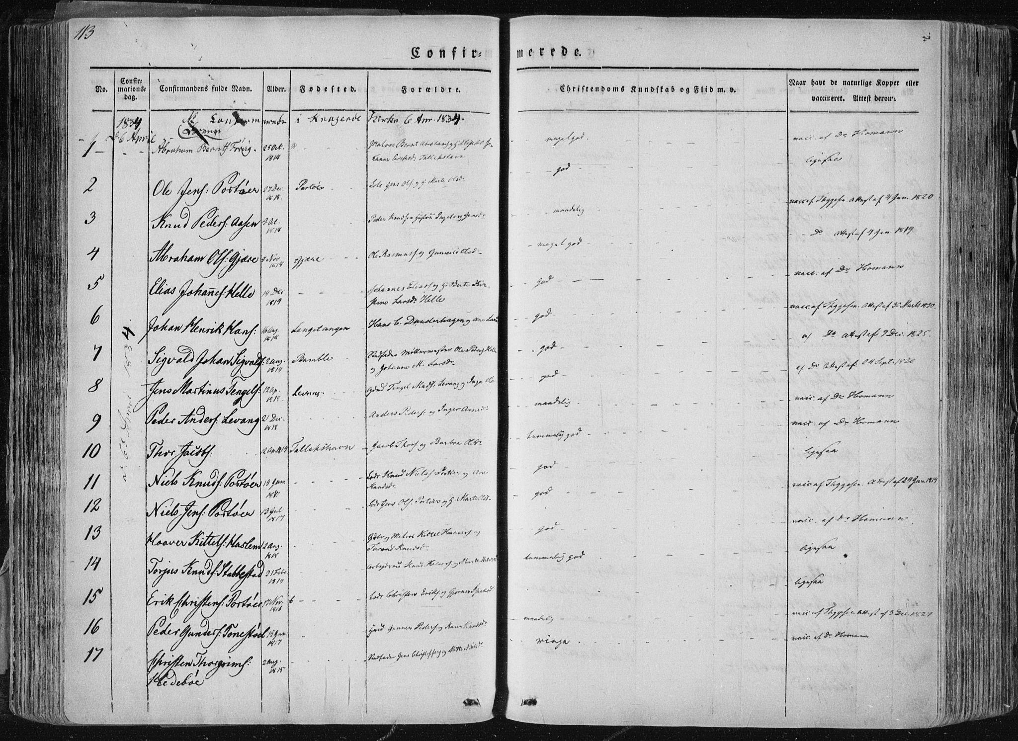 SAKO, Sannidal kirkebøker, F/Fa/L0007: Ministerialbok nr. 7, 1831-1854, s. 113
