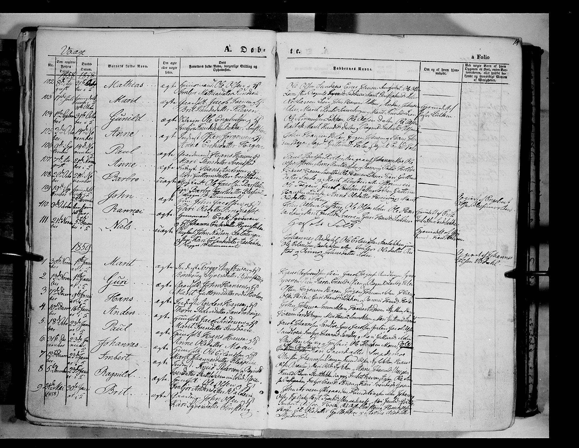 SAH, Vågå prestekontor, Ministerialbok nr. 6 /1, 1856-1872, s. 14