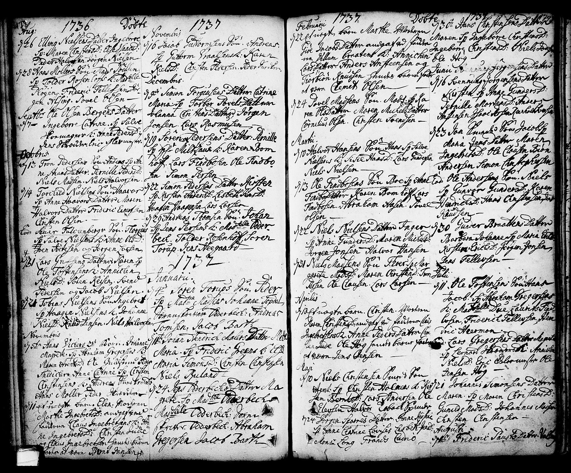 SAKO, Kragerø kirkebøker, F/Fa/L0001: Ministerialbok nr. 1, 1702-1766, s. 178-179