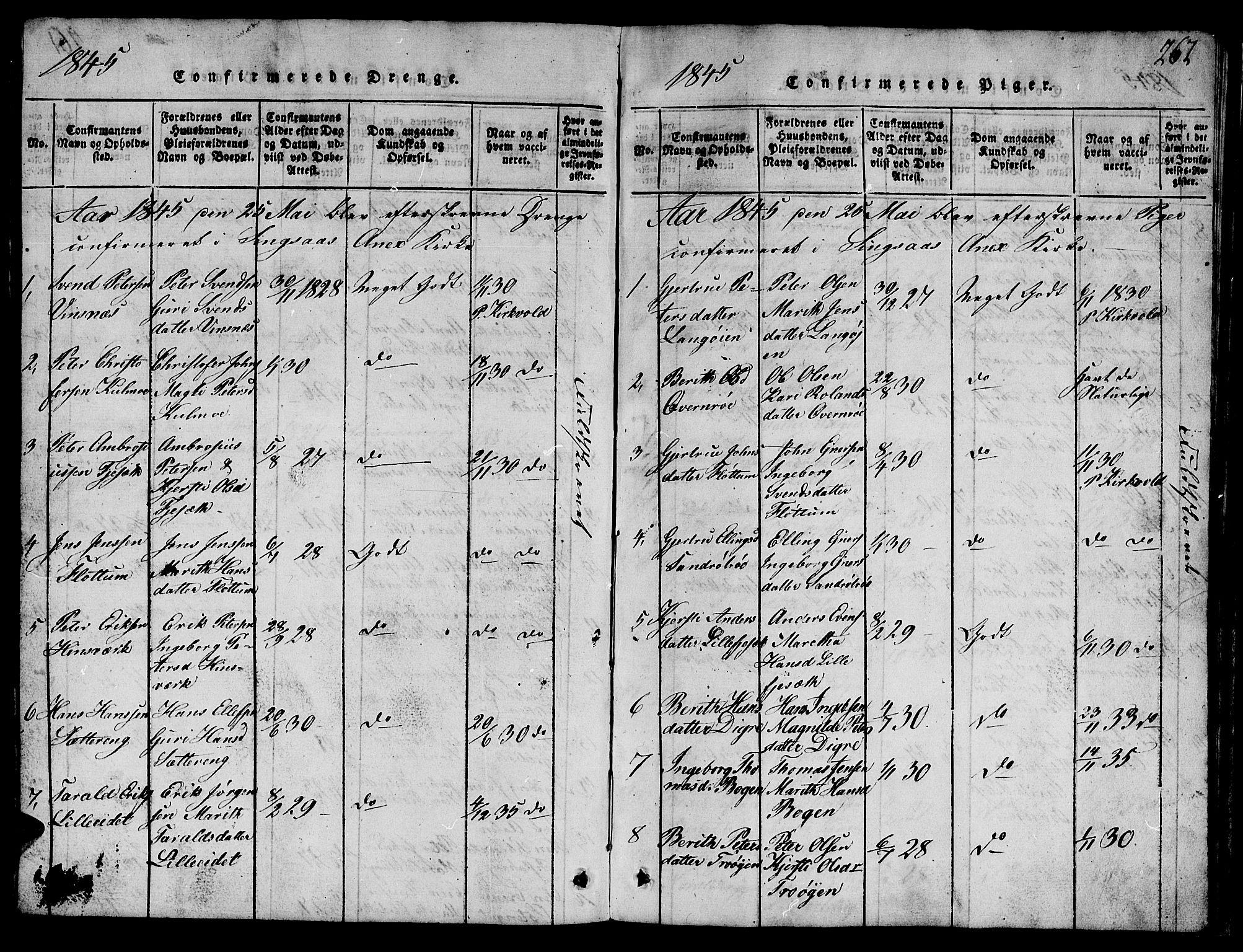 SAT, Ministerialprotokoller, klokkerbøker og fødselsregistre - Sør-Trøndelag, 688/L1026: Klokkerbok nr. 688C01, 1817-1860, s. 262