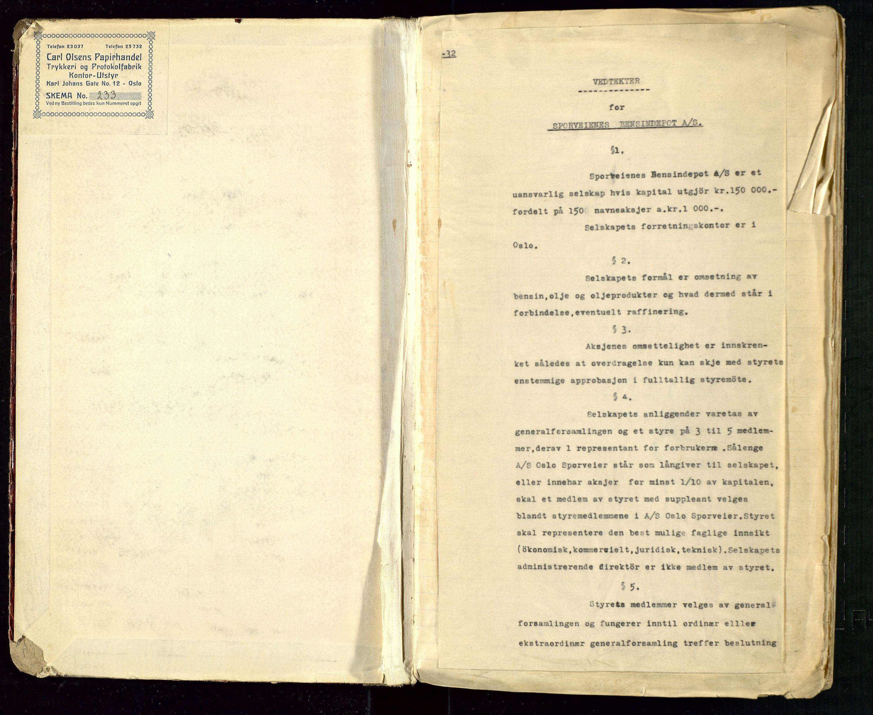 SAST, PA 1514 - Sporveienes Bensindepot, Norsk Oljeraffineri A/S, A/L0002: Forhandlingsprotokoll Arbeidsutvaget, 1932-1946, s. 2