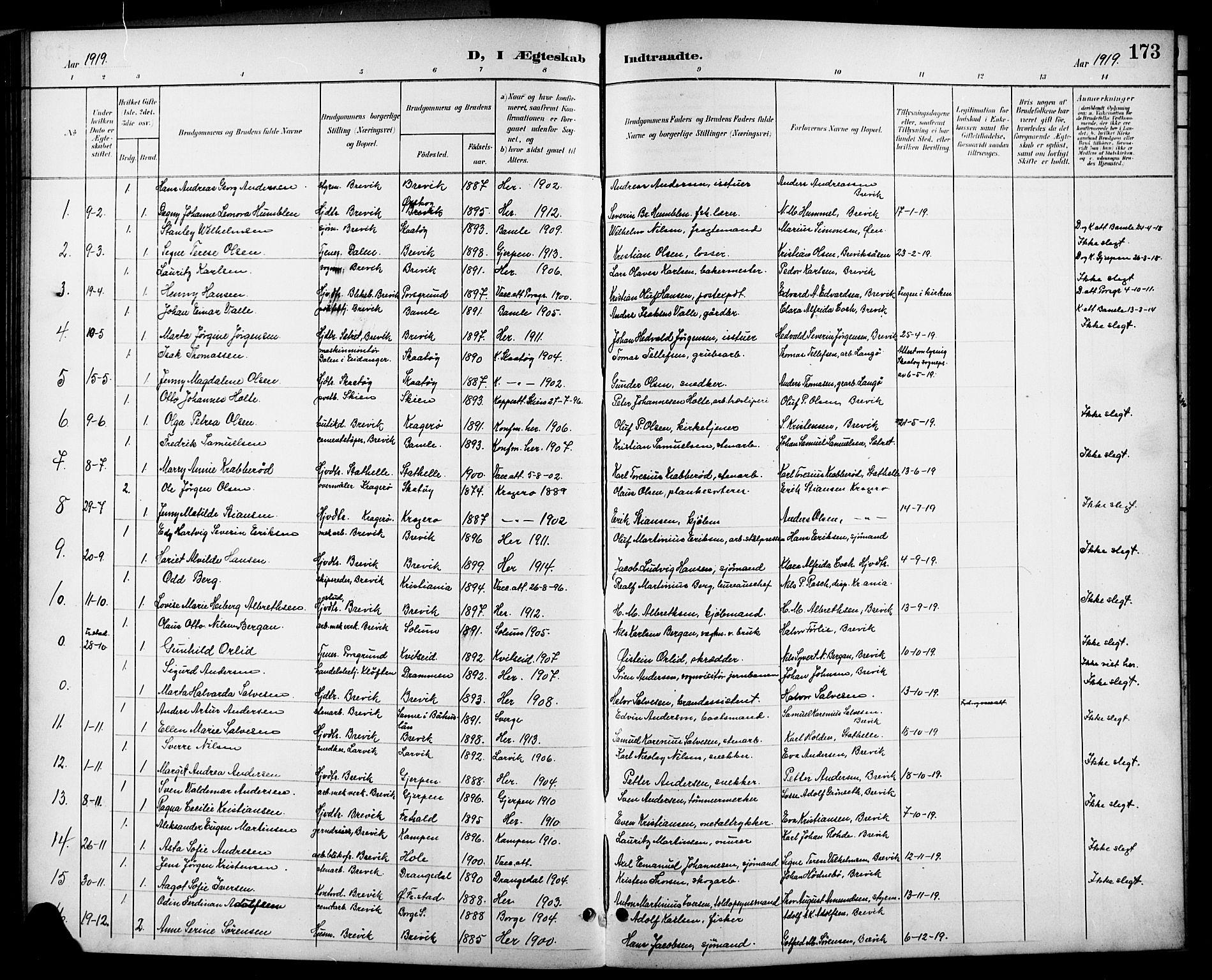 SAKO, Brevik kirkebøker, G/Ga/L0005: Klokkerbok nr. 5, 1901-1924, s. 173