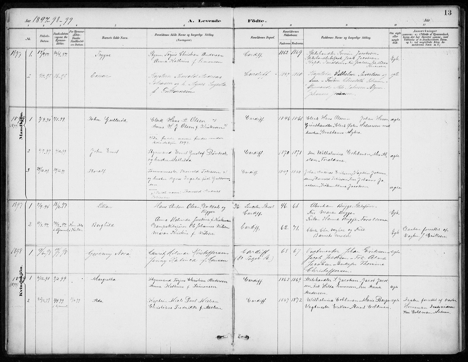 SAB, Den Norske Sjømannsmisjon i utlandet*, Ministerialbok nr. A 2, 1887-1932, s. 13
