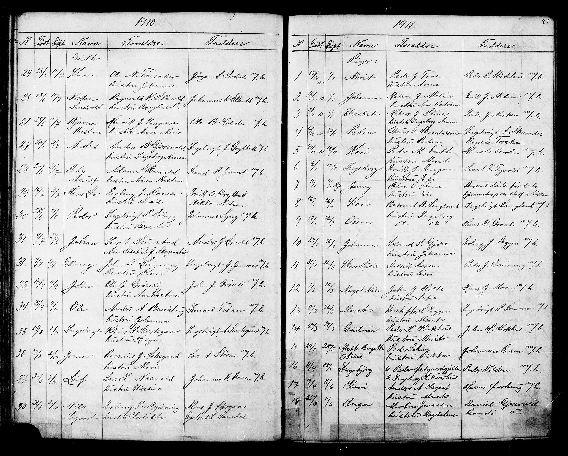 SAT, Ministerialprotokoller, klokkerbøker og fødselsregistre - Sør-Trøndelag, 686/L0985: Klokkerbok nr. 686C01, 1871-1933, s. 87