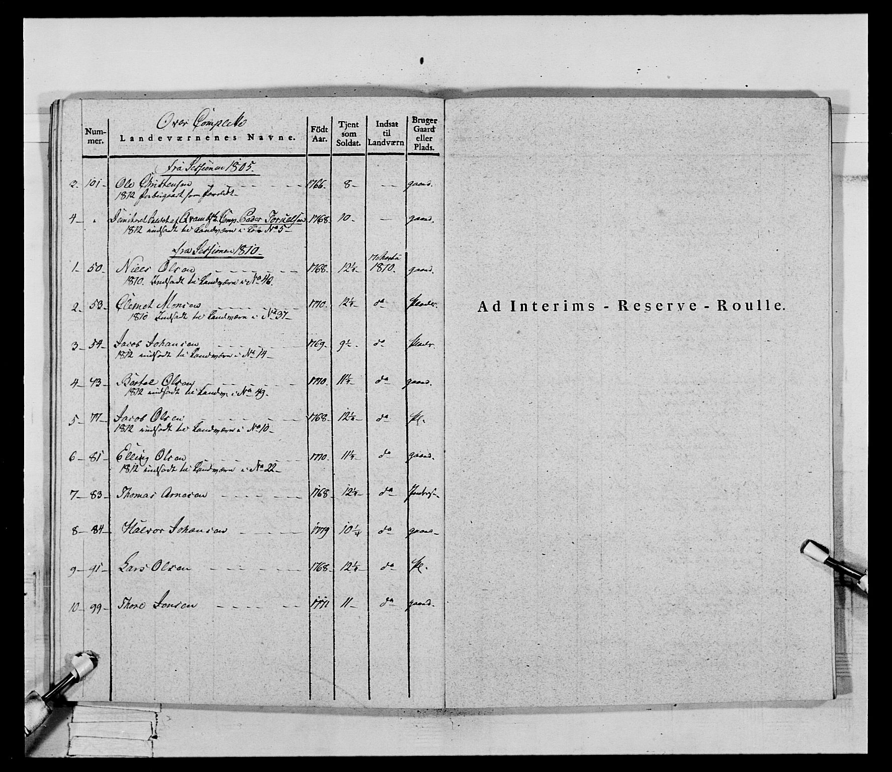 RA, Generalitets- og kommissariatskollegiet, Det kongelige norske kommissariatskollegium, E/Eh/L0069: Opplandske gevorbne infanteriregiment, 1810-1818, s. 549