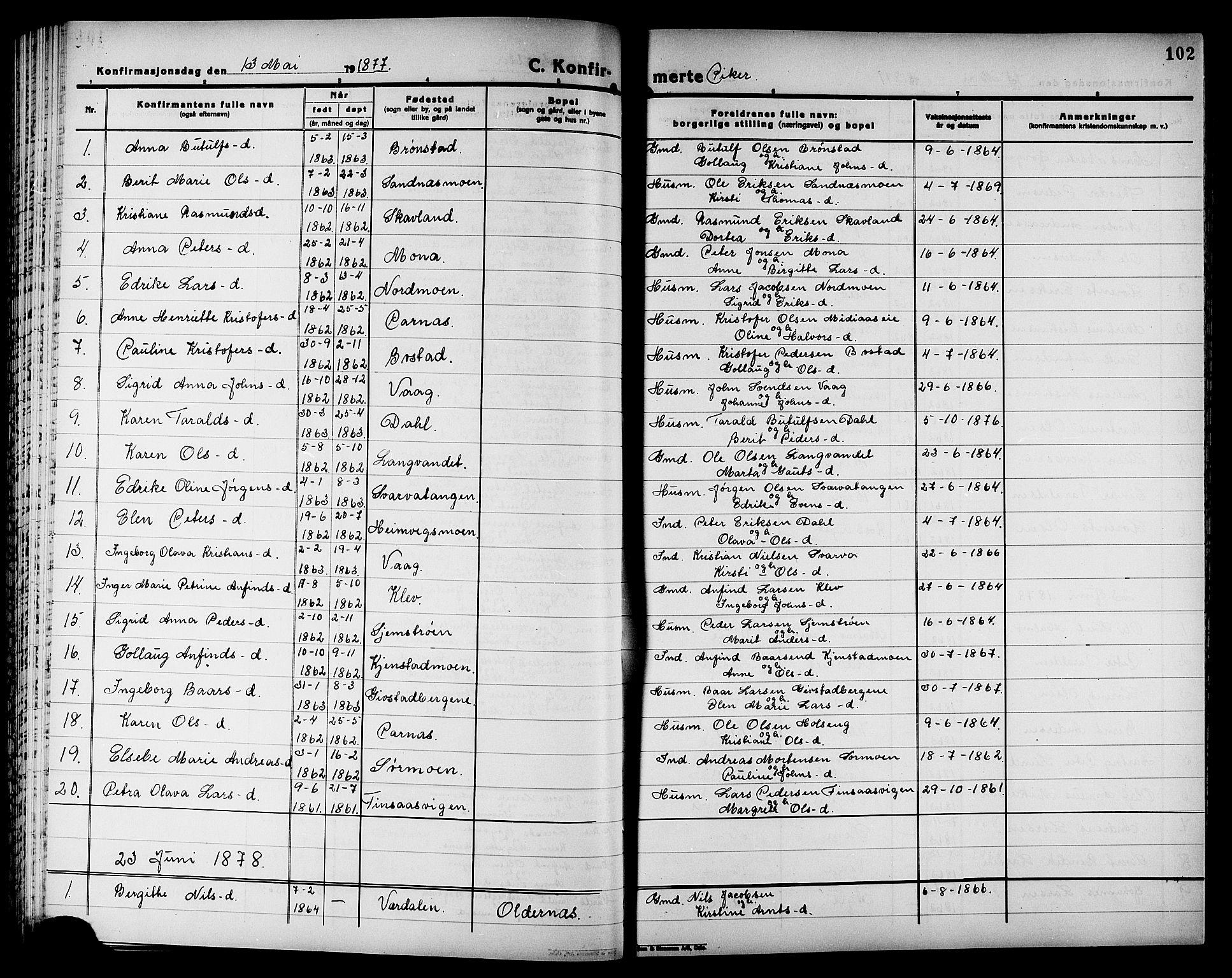SAT, Ministerialprotokoller, klokkerbøker og fødselsregistre - Nord-Trøndelag, 749/L0486: Ministerialbok nr. 749D02, 1873-1887, s. 102